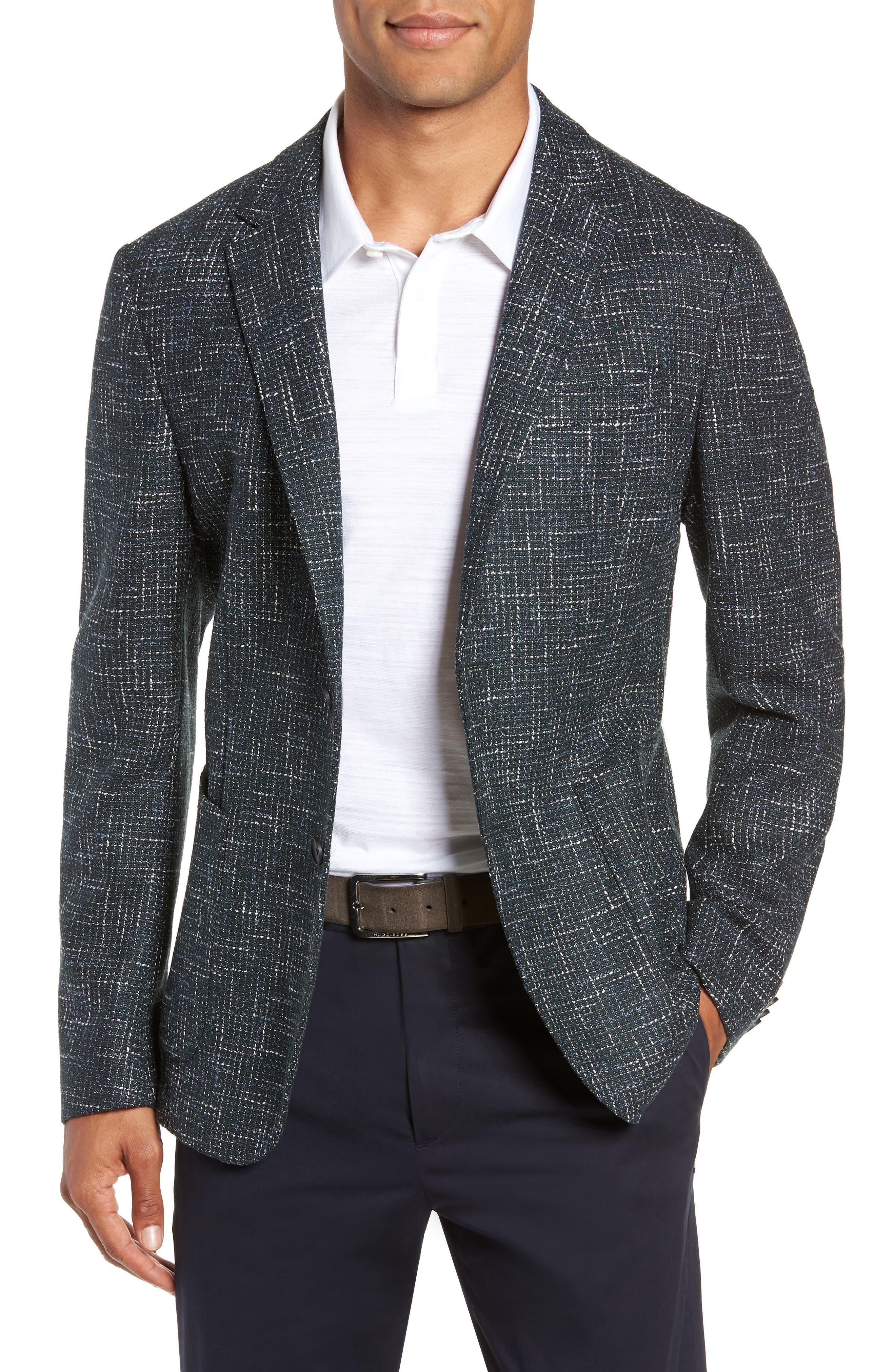 Nold Trim Fit Check Sport Coat,                         Main,                         color, GREEN