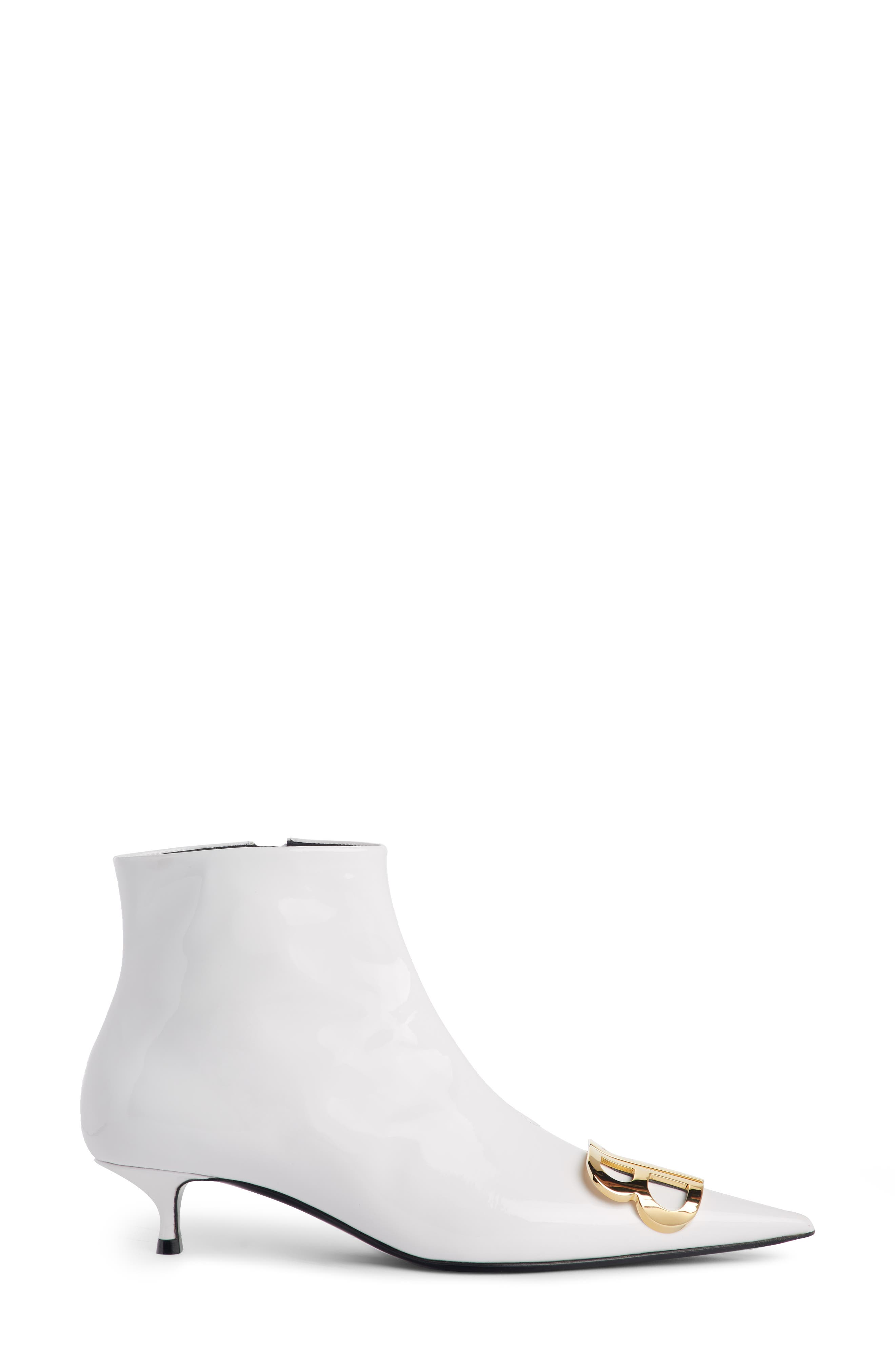 BB Pointy Toe Bootie,                             Alternate thumbnail 3, color,                             WHITE