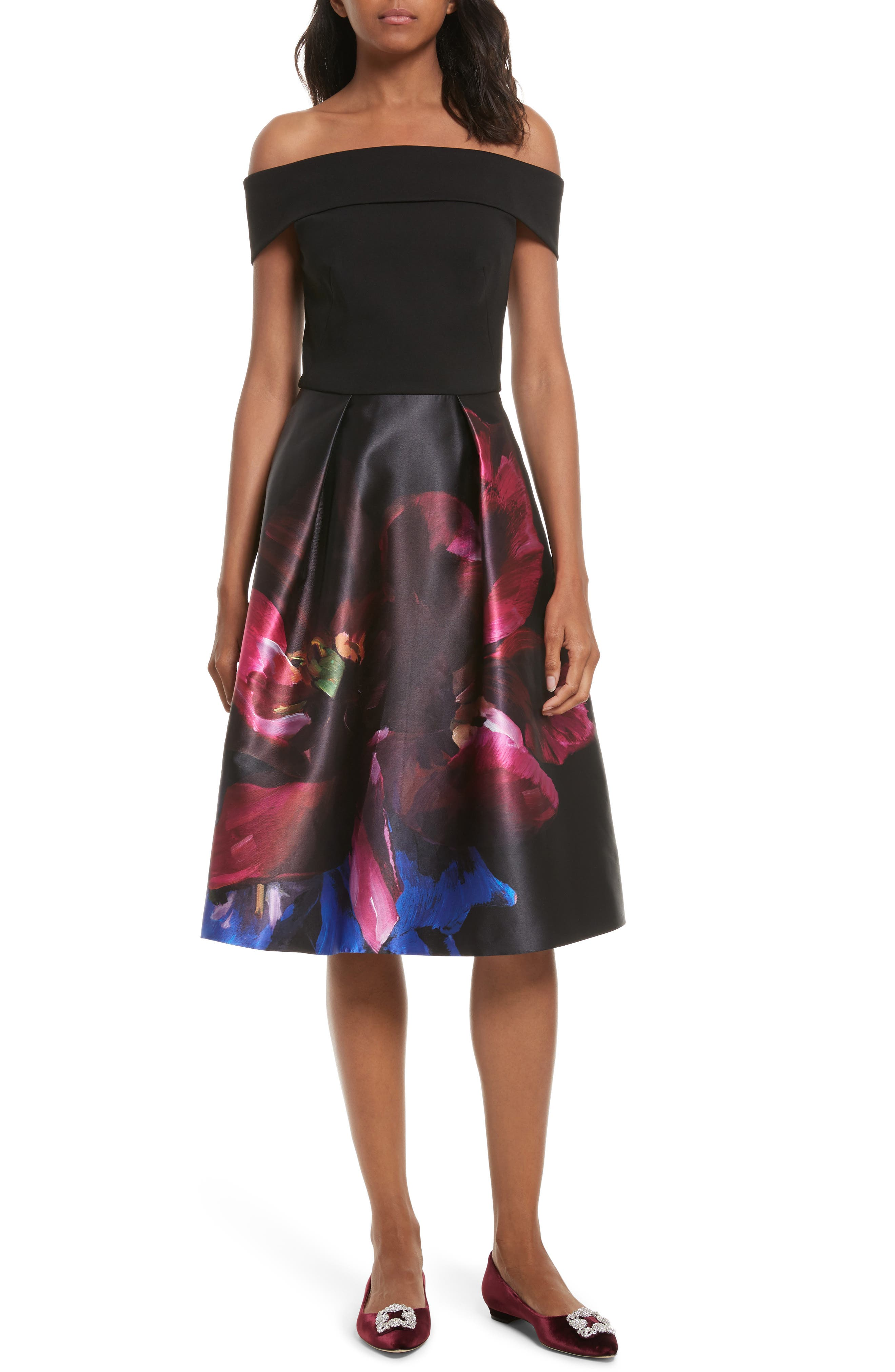 Kimey Impressionist Fit & Flare Dress,                             Main thumbnail 1, color,                             001