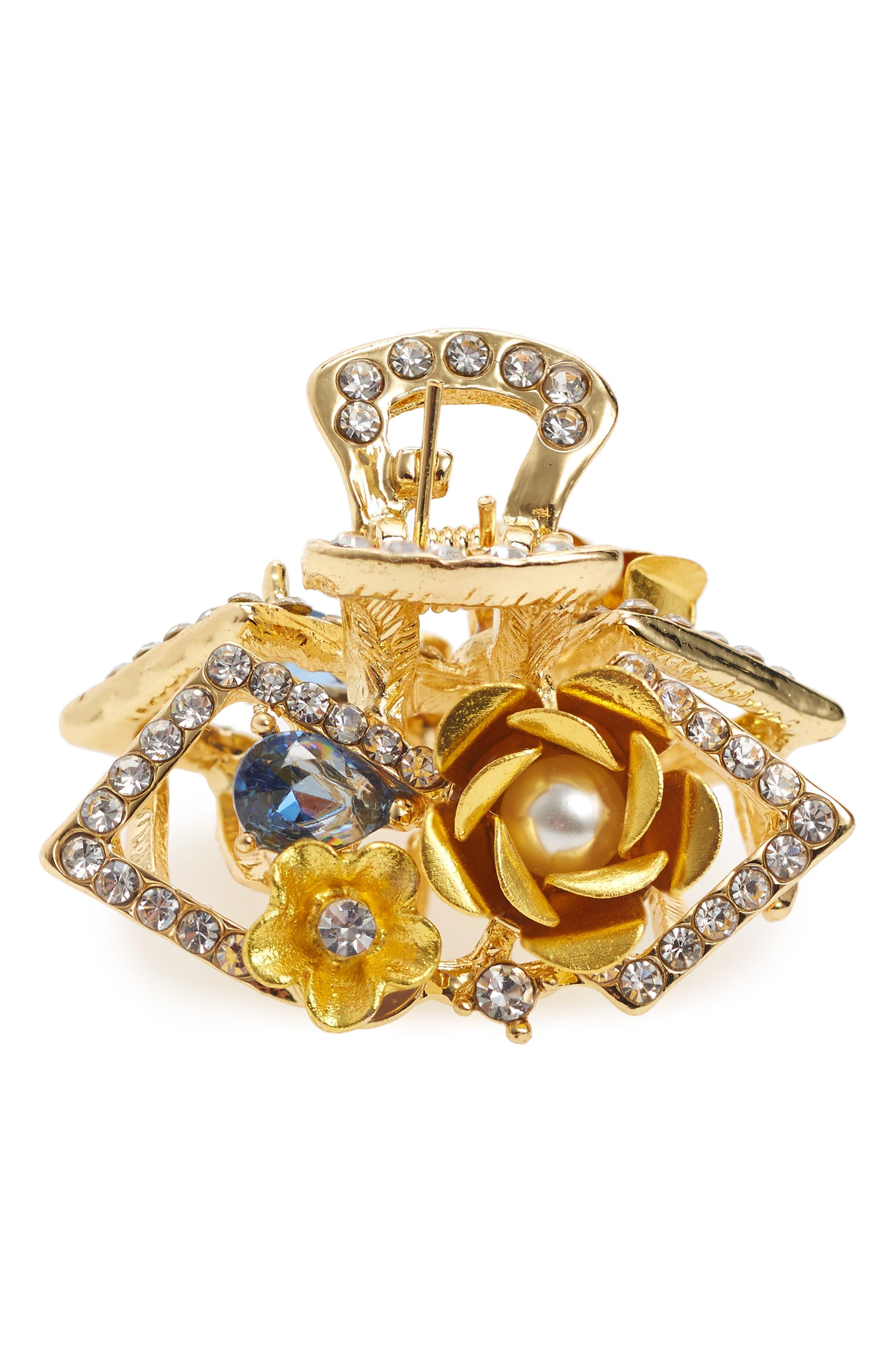 Crystal & Imitation Pearl Jaw Clip,                         Main,                         color,