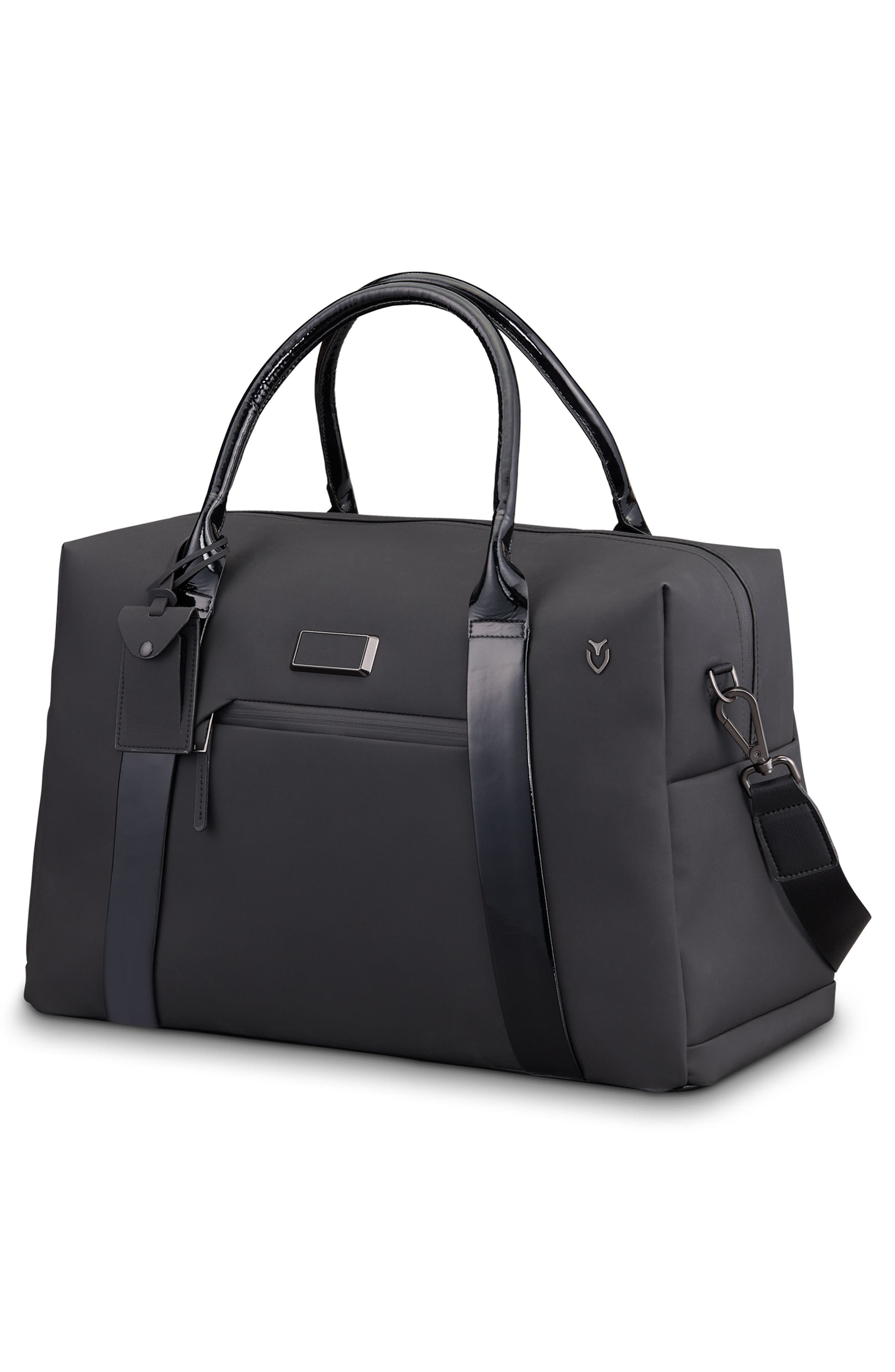 Signature 2.0 Faux Leather Duffel Bag,                             Alternate thumbnail 3, color,                             MATTE/ PATENT BLACK