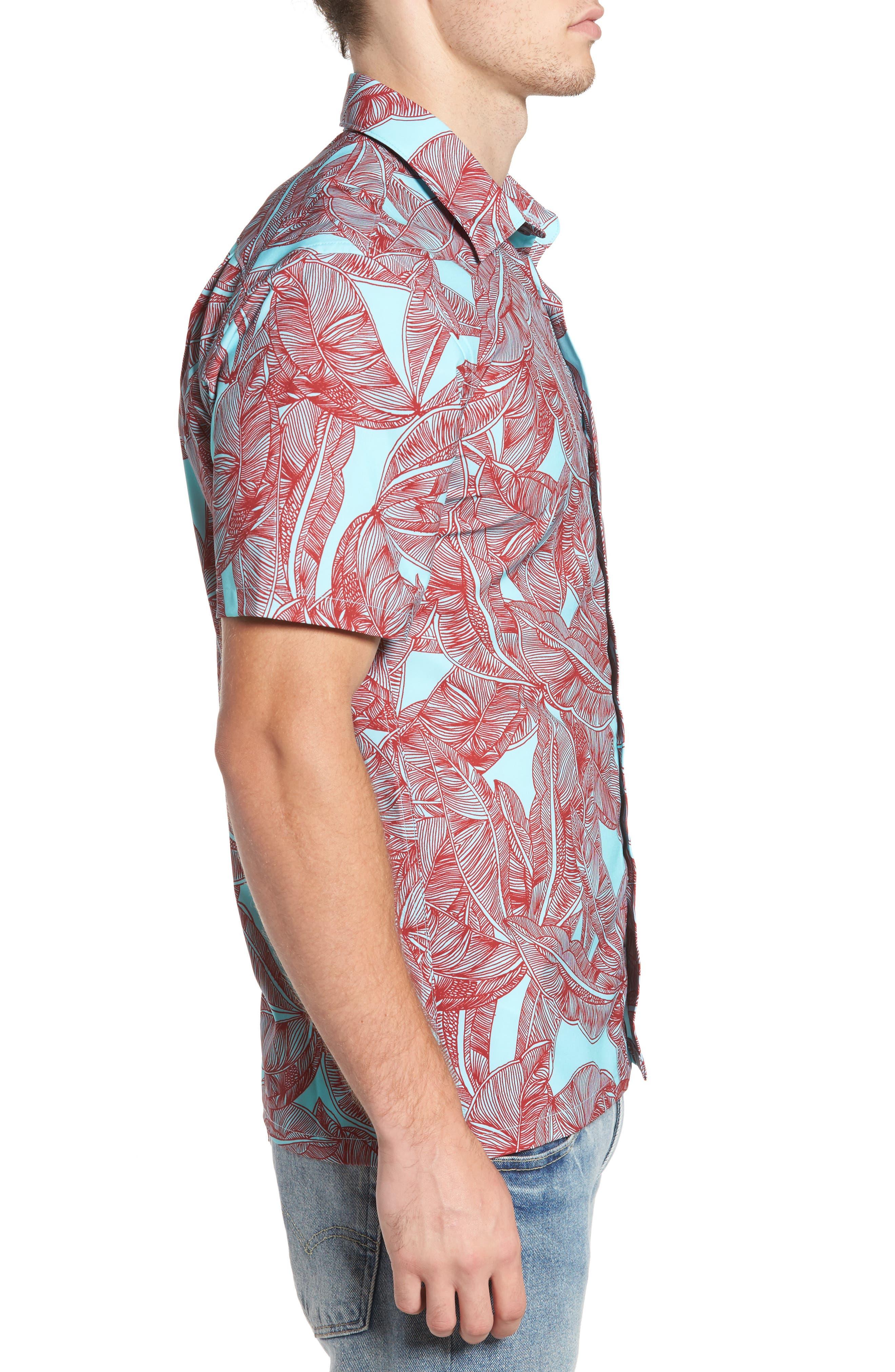 Print Woven Shirt,                             Alternate thumbnail 3, color,                             400
