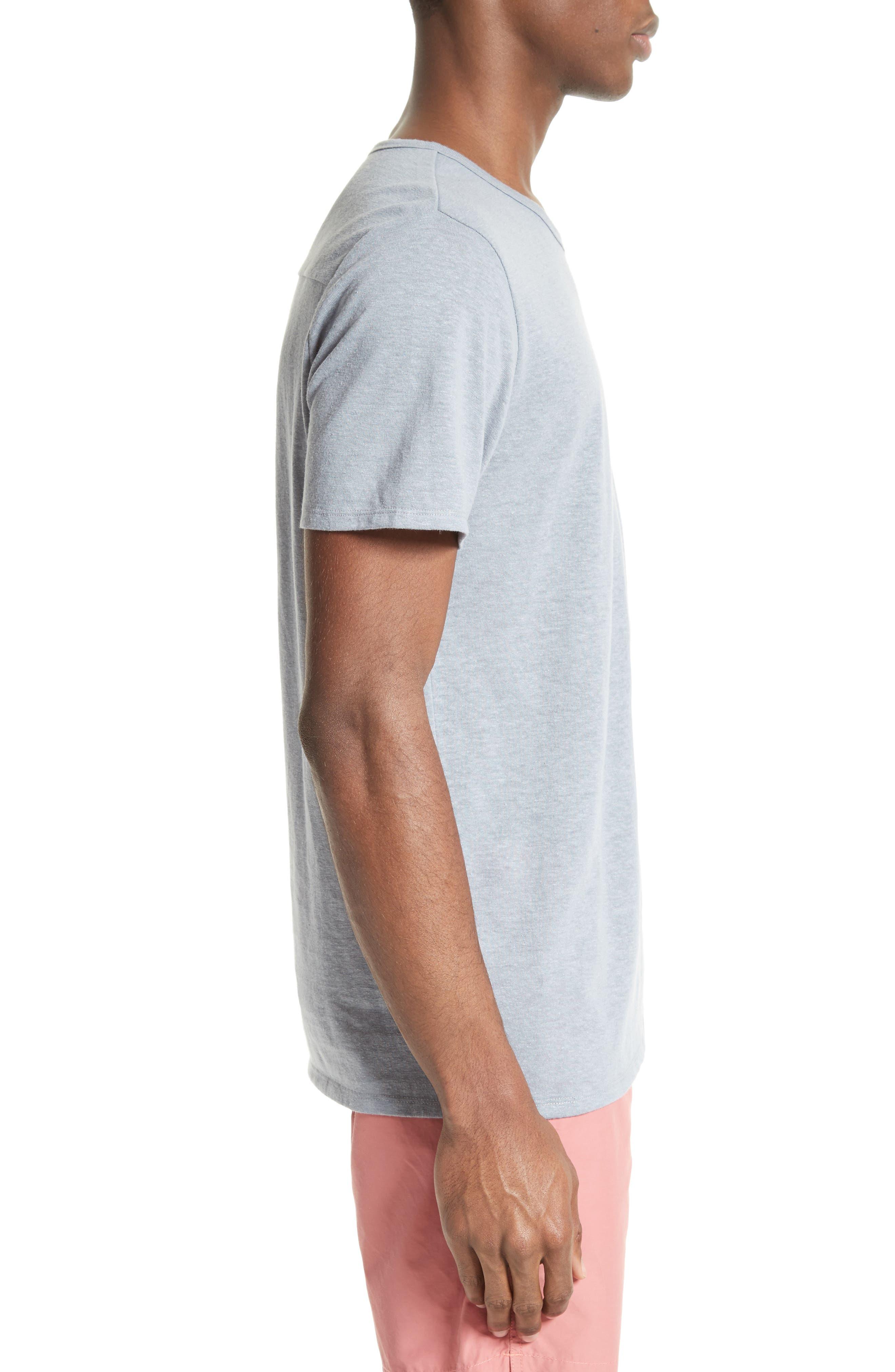 Chad Linen Blend Pocket T-Shirt,                             Alternate thumbnail 3, color,                             020