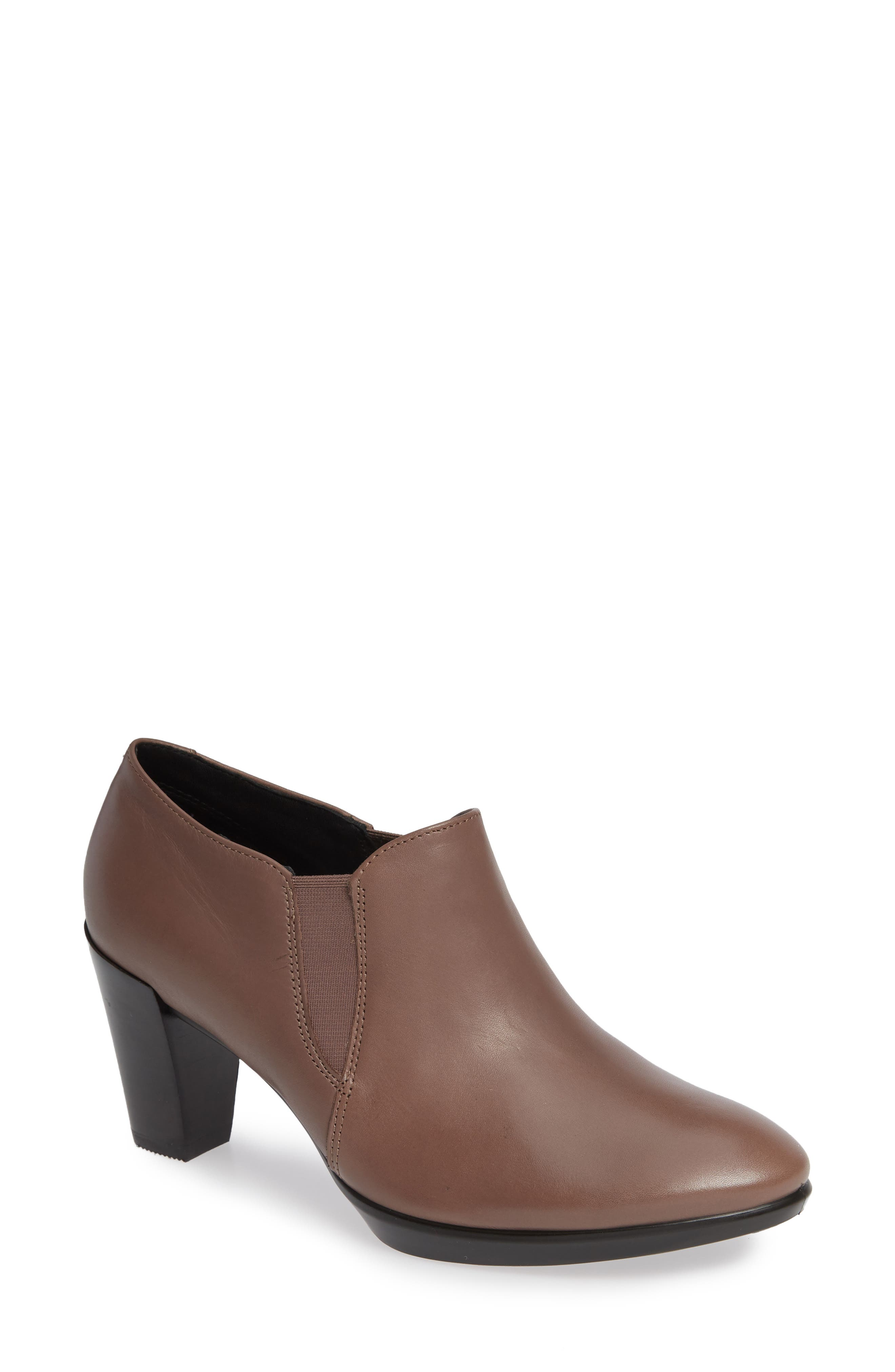 Shape 55 Plateau Stack Bootie,                             Main thumbnail 1, color,                             DEEP TAUPE LEATHER