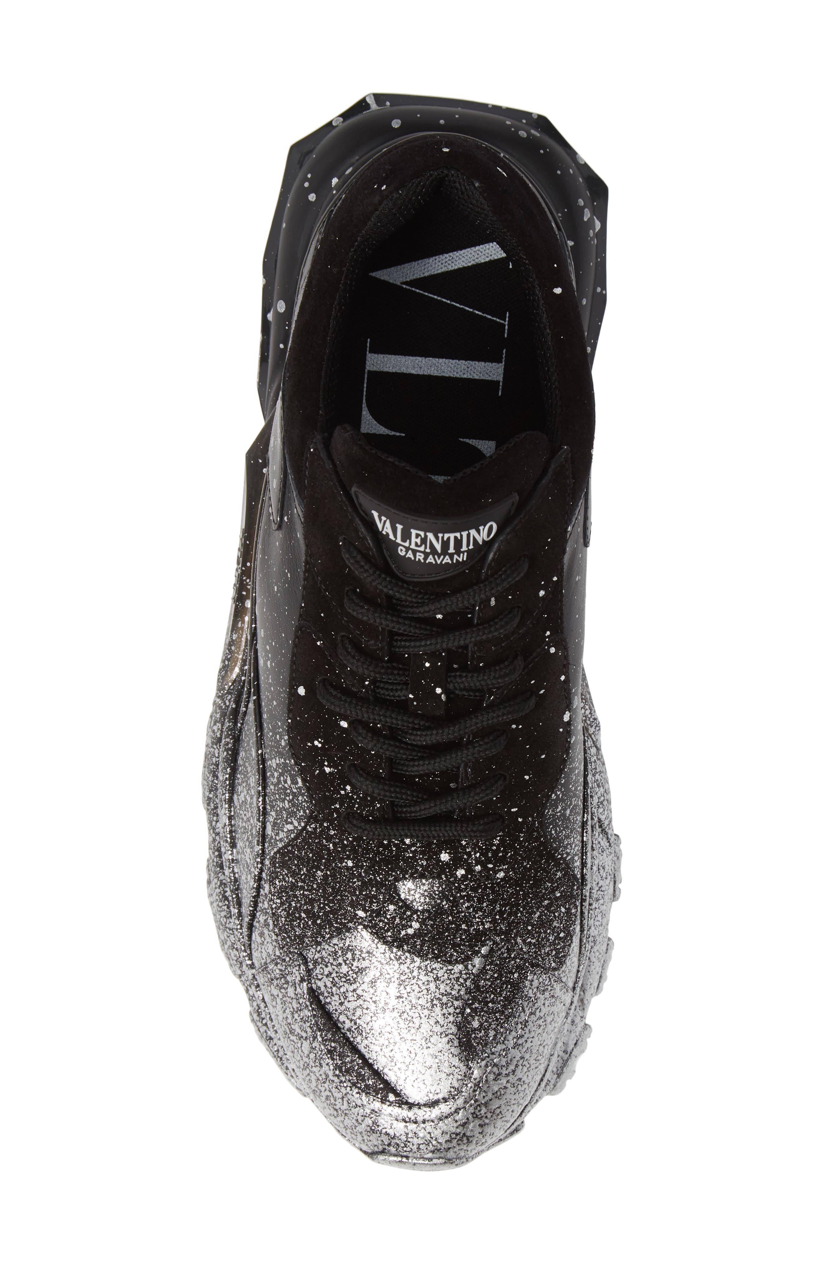 Bounce Paint Splatter Sneaker,                             Alternate thumbnail 5, color,                             BLACK/ SILVER