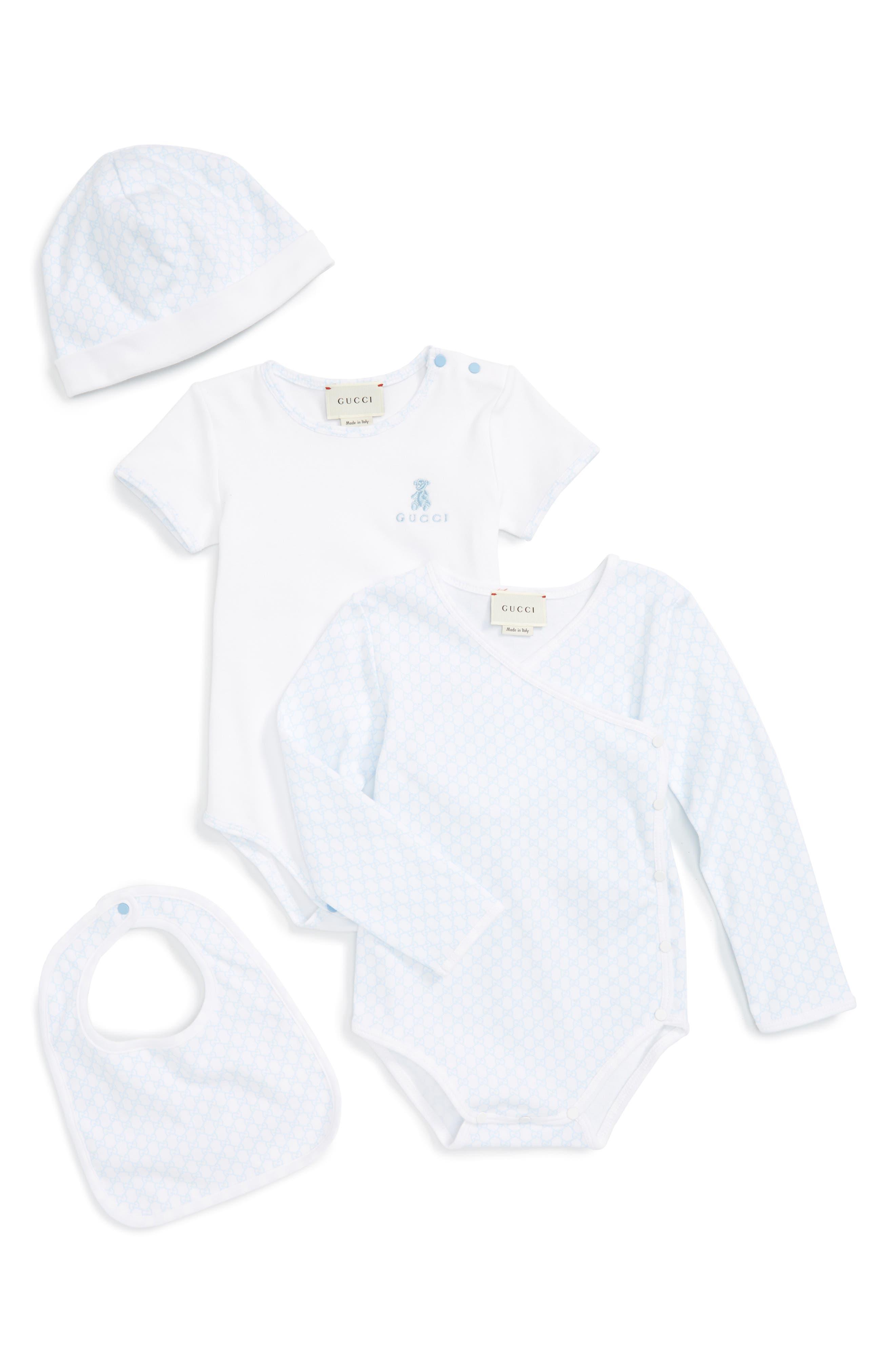 Short Sleeve Bodysuit, Long Sleeve Bodysuit, Hat & Bib Set,                         Main,                         color, BLUE
