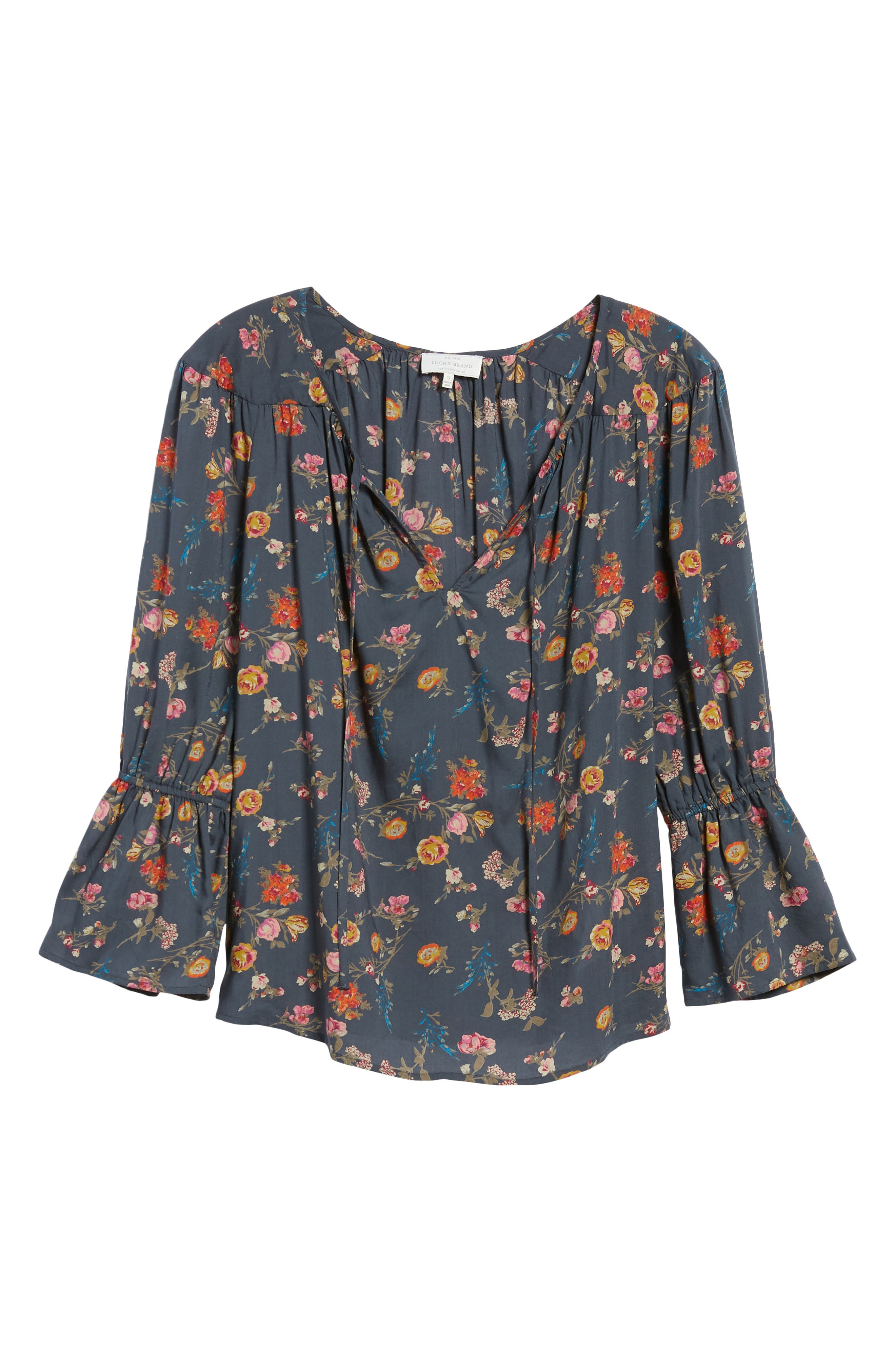 Floral Bell Sleeve Peasant Blouse,                             Alternate thumbnail 6, color,                             440
