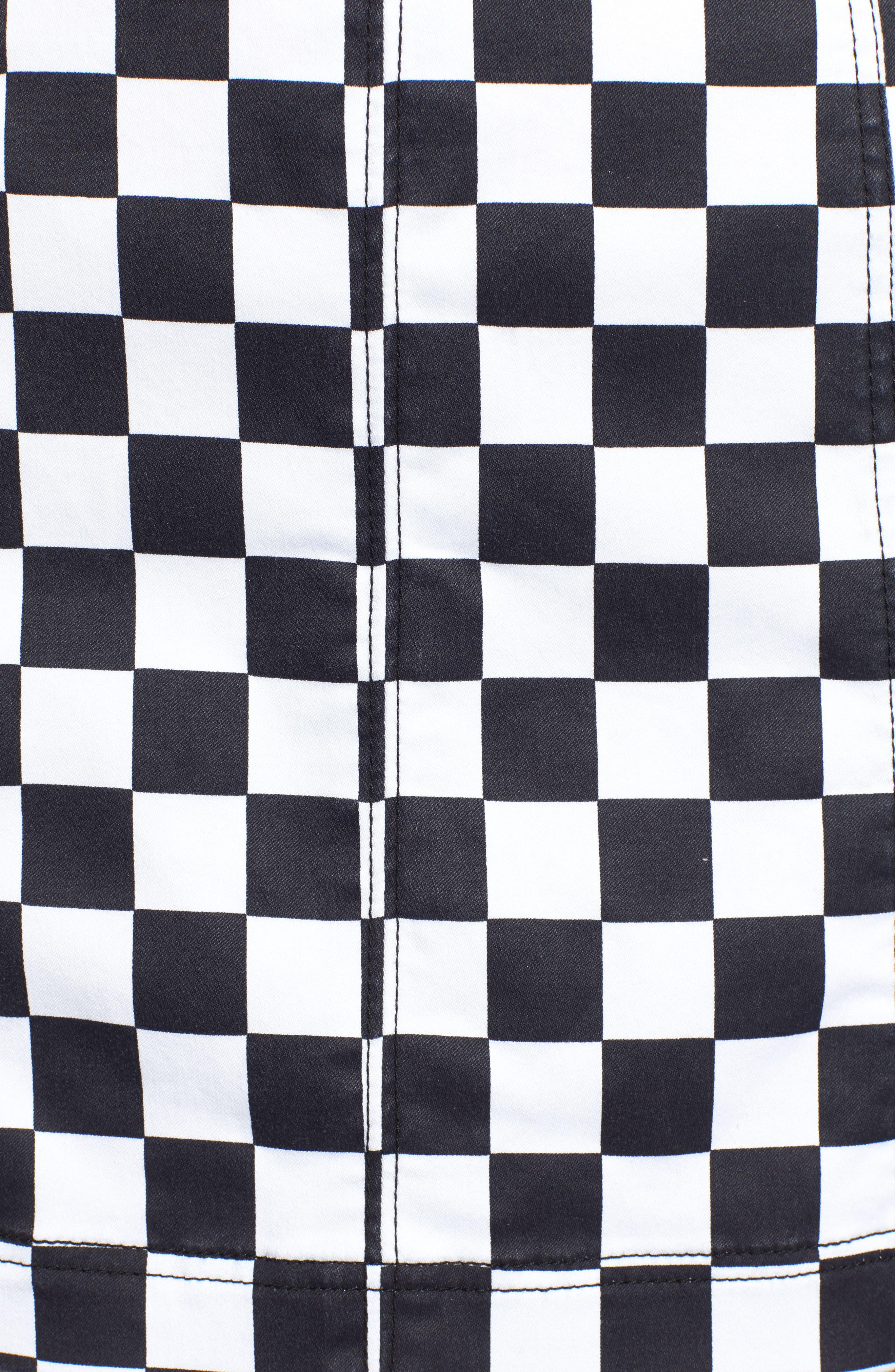 Checkered Denim Miniskirt,                             Alternate thumbnail 5, color,                             BLACK/ WHITE CHECKERED