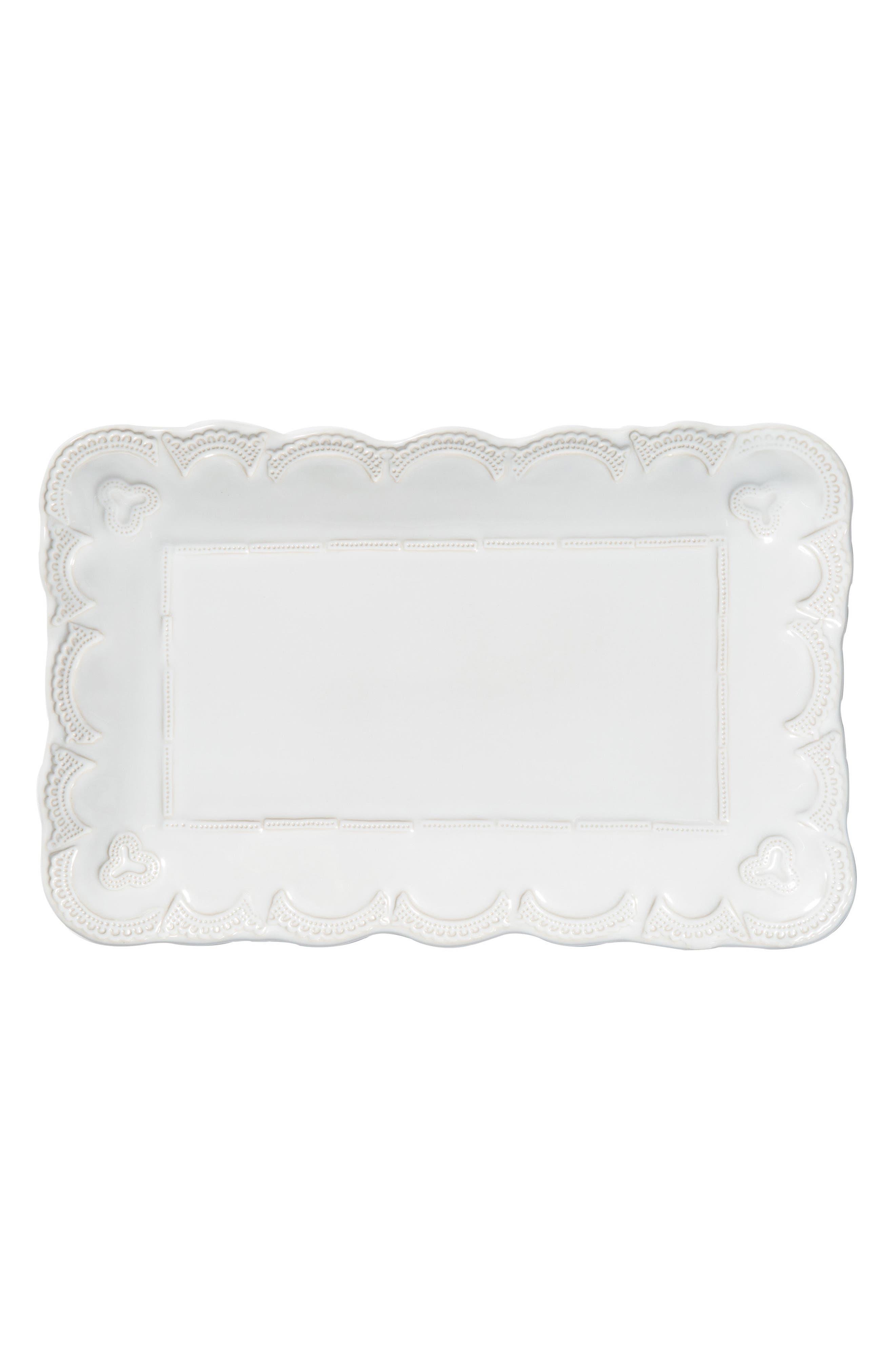 VIETRI Incanto Stone Lace Small Serving Platter, Main, color, WHITE