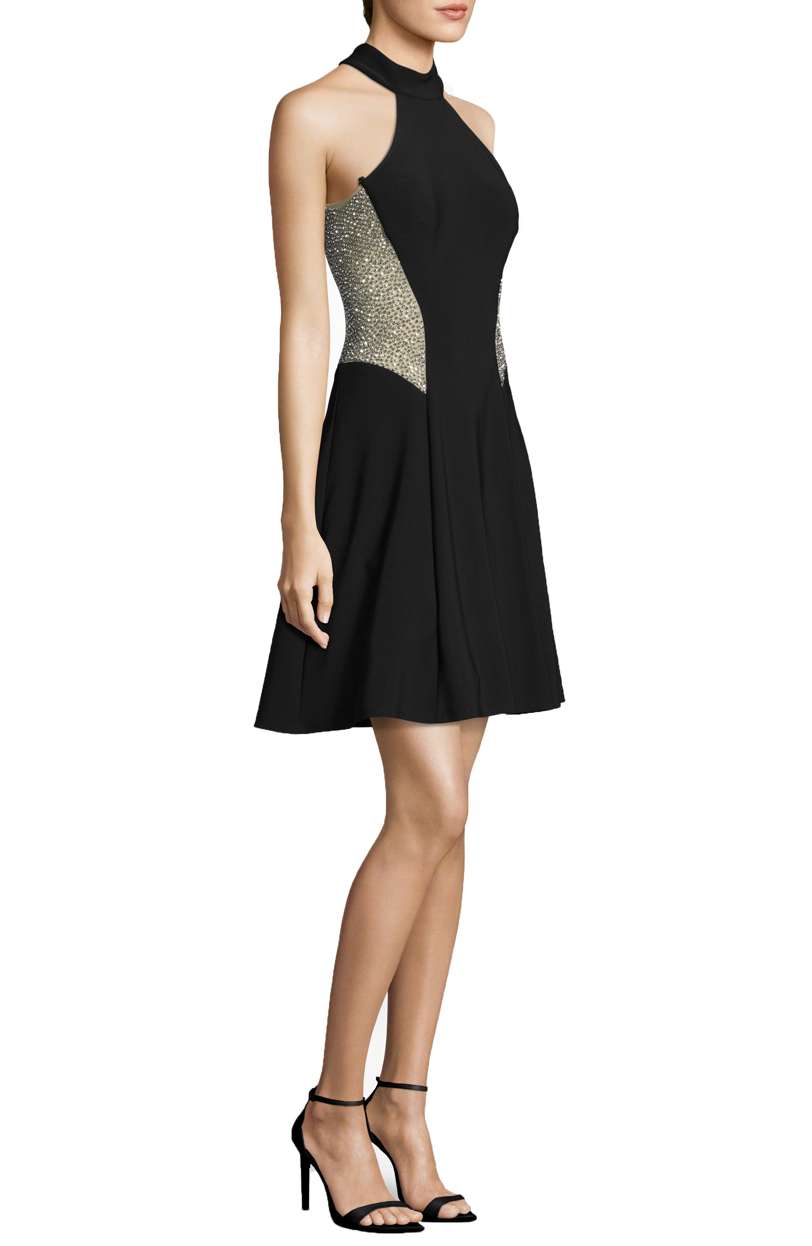 Beaded Back Cocktail Dress,                             Alternate thumbnail 3, color,                             BLACK/ NUDE/ SILVER