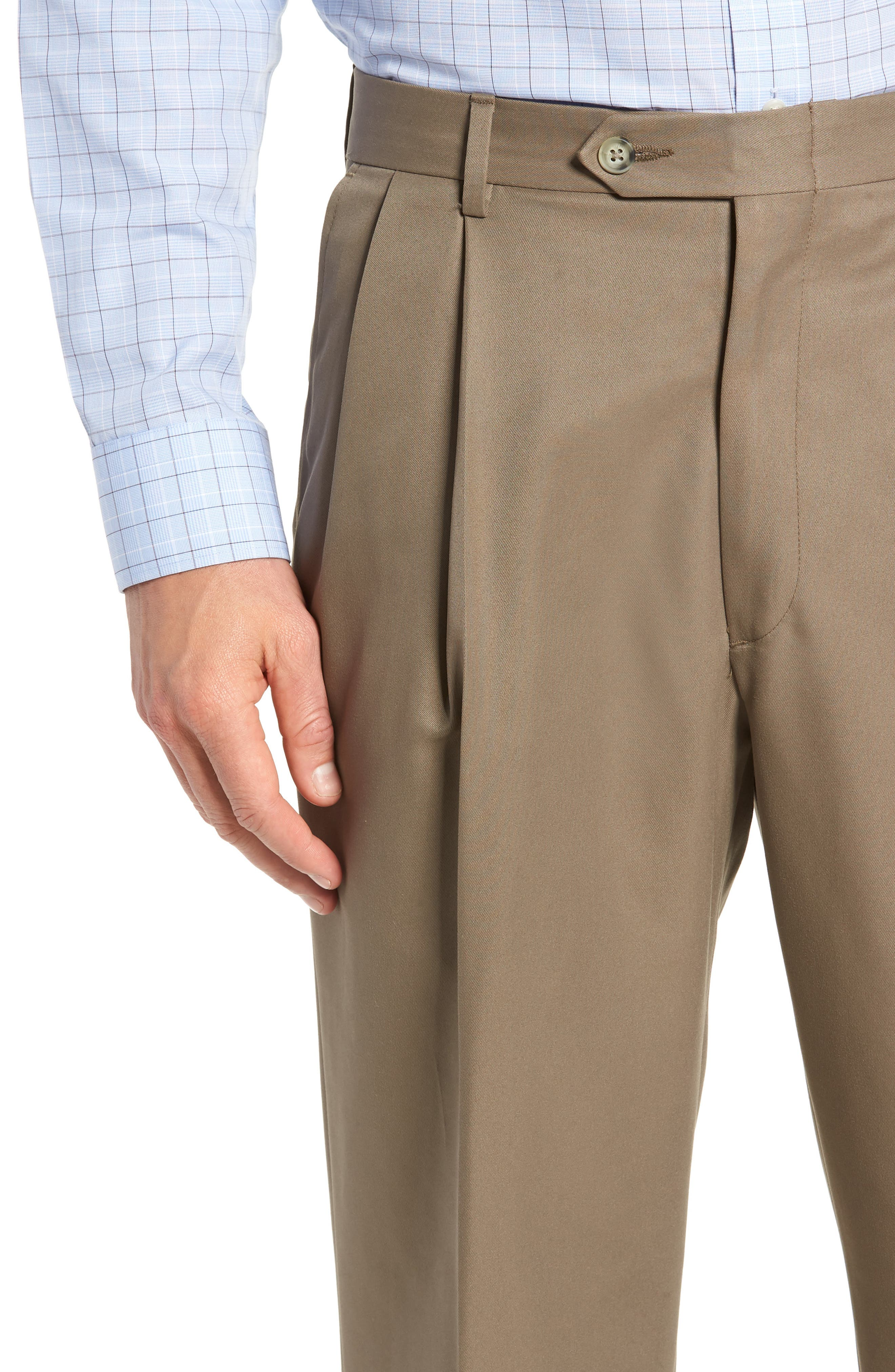 Classic Fit Pleated Microfiber Performance Trousers,                             Alternate thumbnail 4, color,                             GREEN