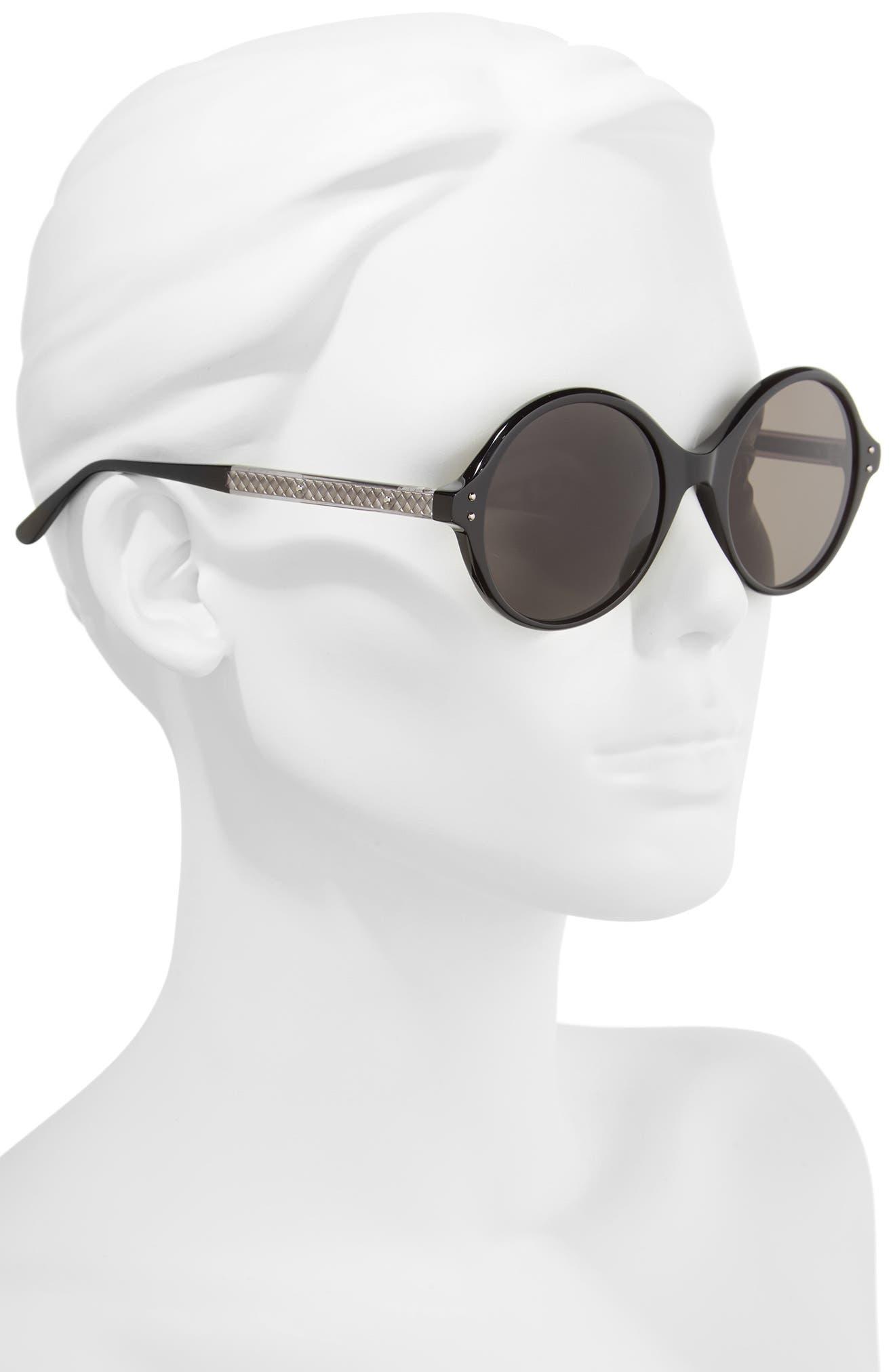 52mm Round Sunglasses,                             Alternate thumbnail 2, color,                             BLACK