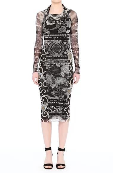 Mixed Print Tulle Body-Ccon Dress, video thumbnail
