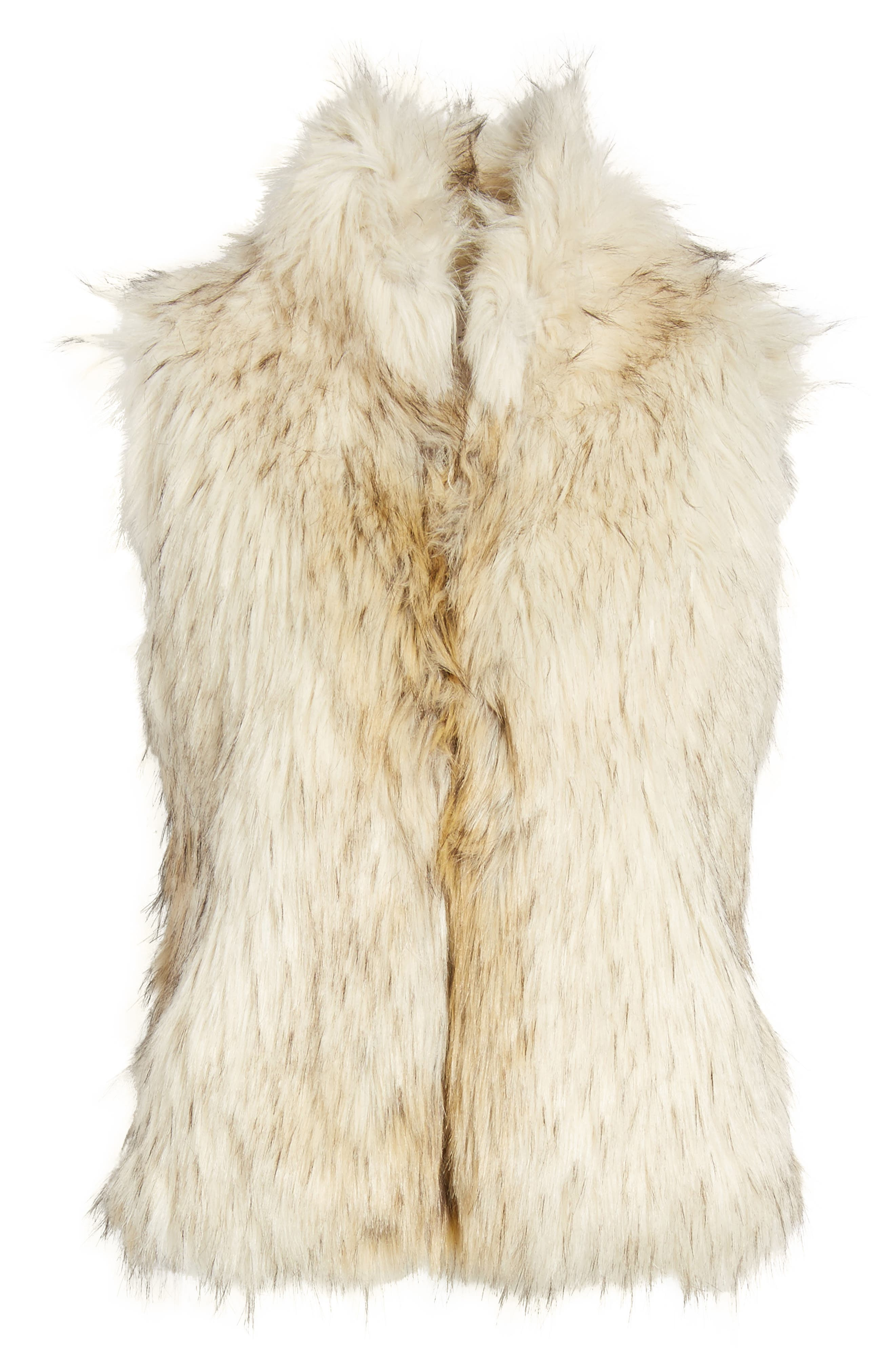 Elvan Open Front Faux Fur Vest,                             Alternate thumbnail 5, color,                             152