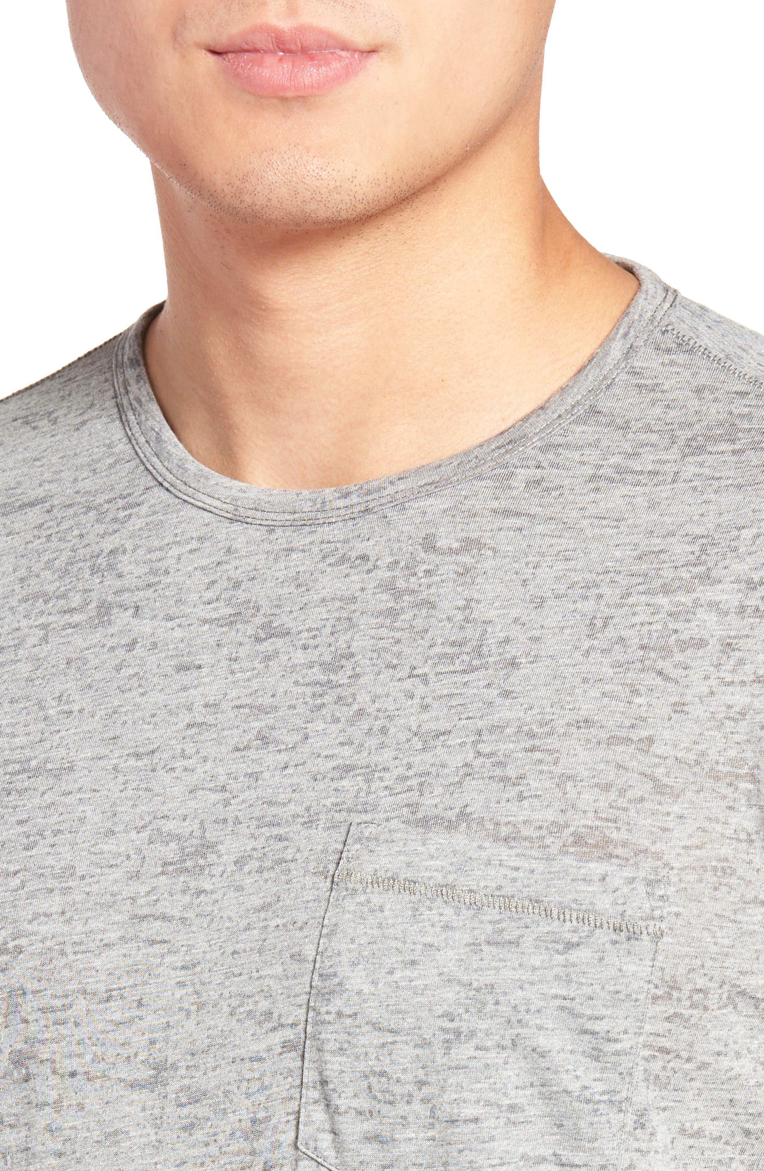 Burnout Trim Fit T-Shirt,                             Alternate thumbnail 4, color,                             LT. GREY HEATHER