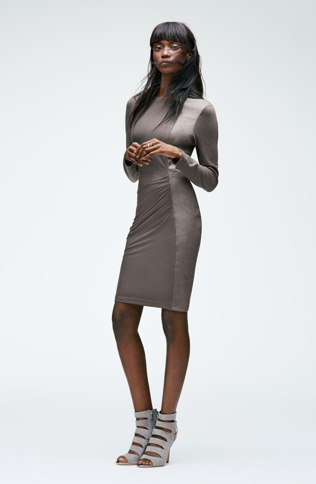 VINCE CAMUTO,                             Faux Leather Panel Ponte Sheath Dress,                             Alternate thumbnail 3, color,                             001