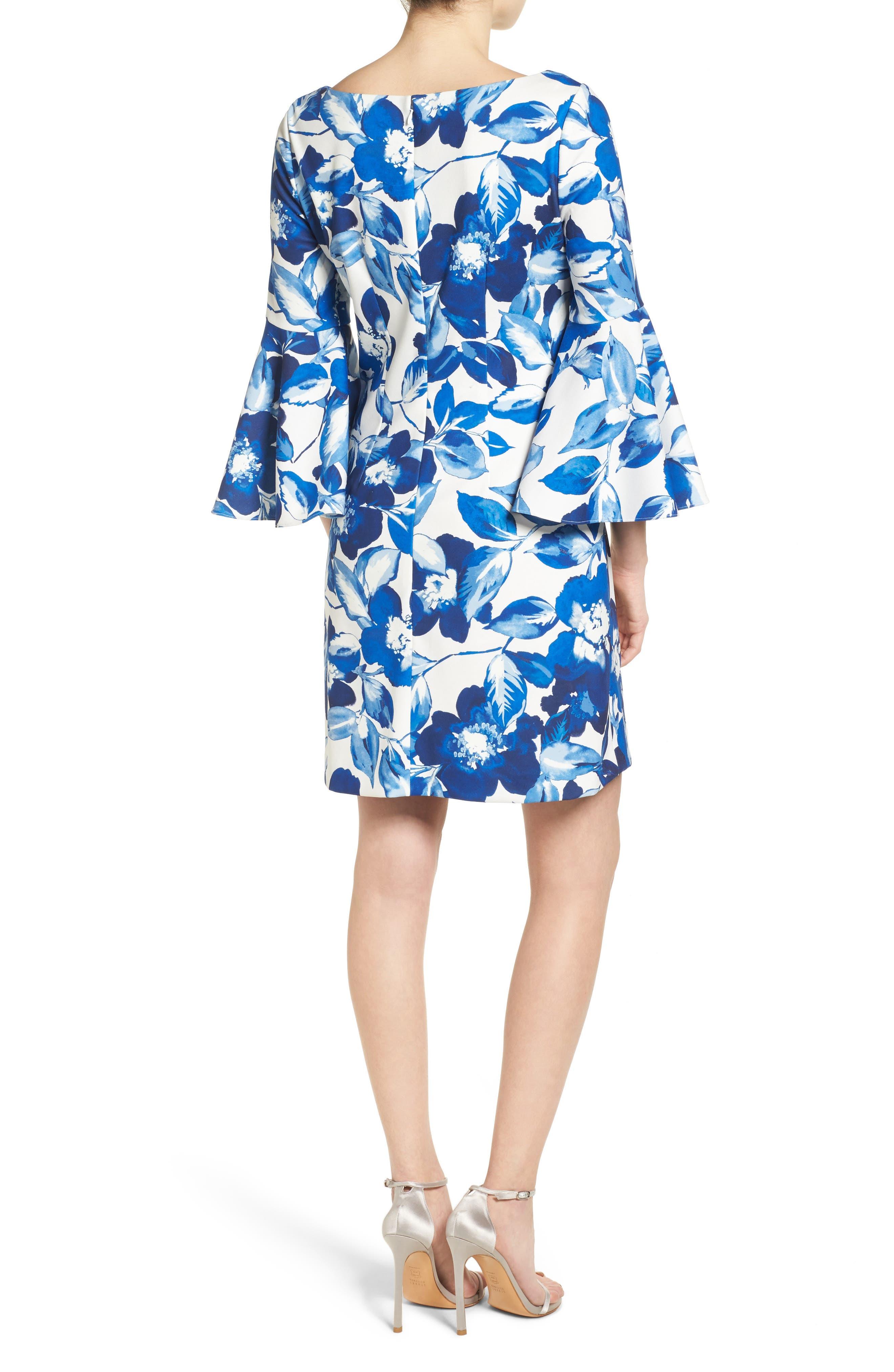 Floral Shift Dress,                             Alternate thumbnail 2, color,                             BLUE/ IVORY