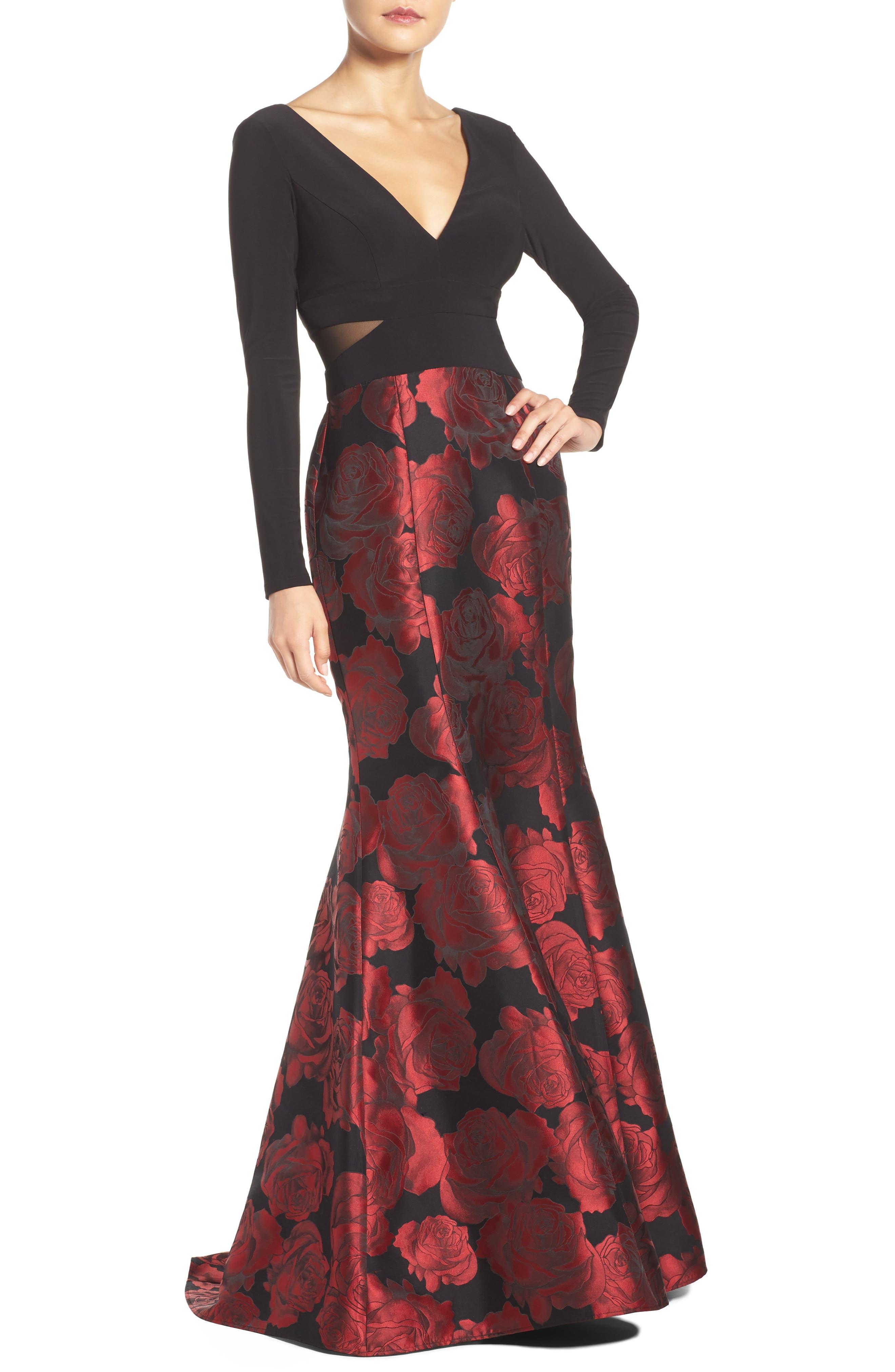 Brocade Mermaid Gown,                             Alternate thumbnail 2, color,                             607