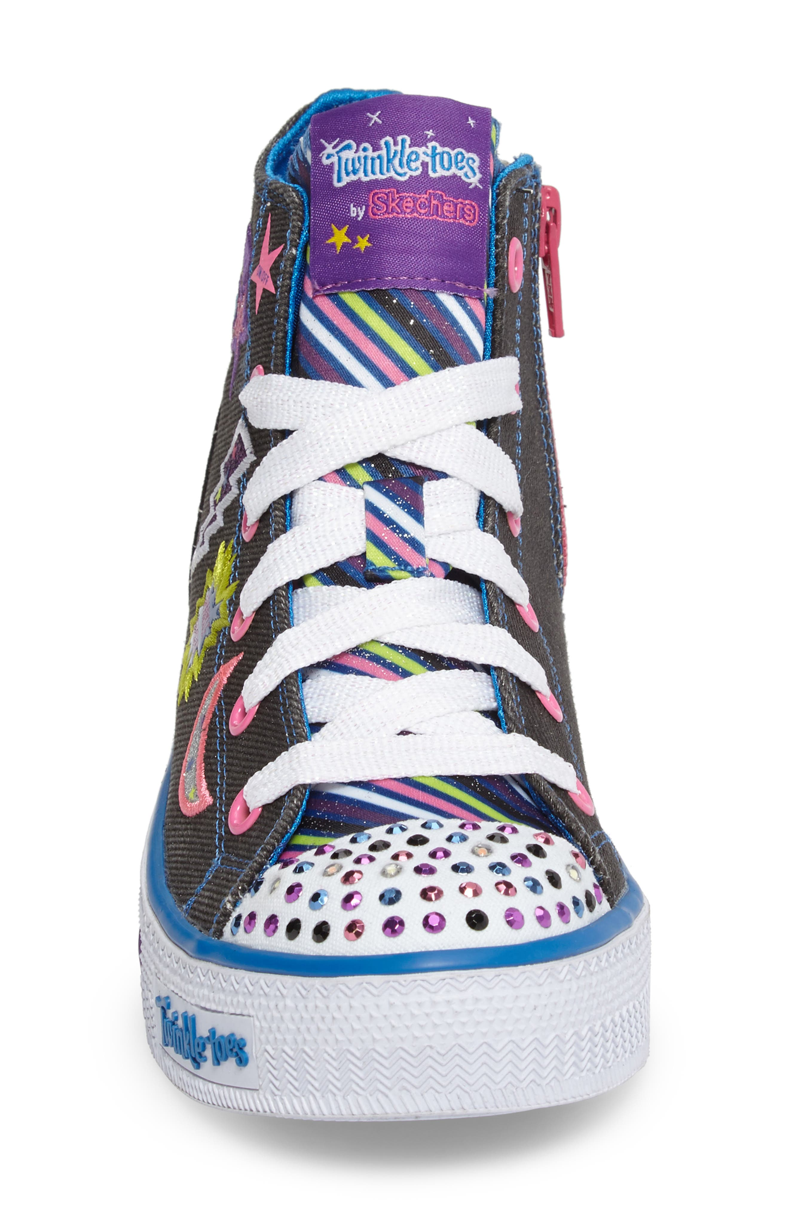 Twinkle Toes Shuffles Light-Up High Top Sneaker,                             Alternate thumbnail 4, color,