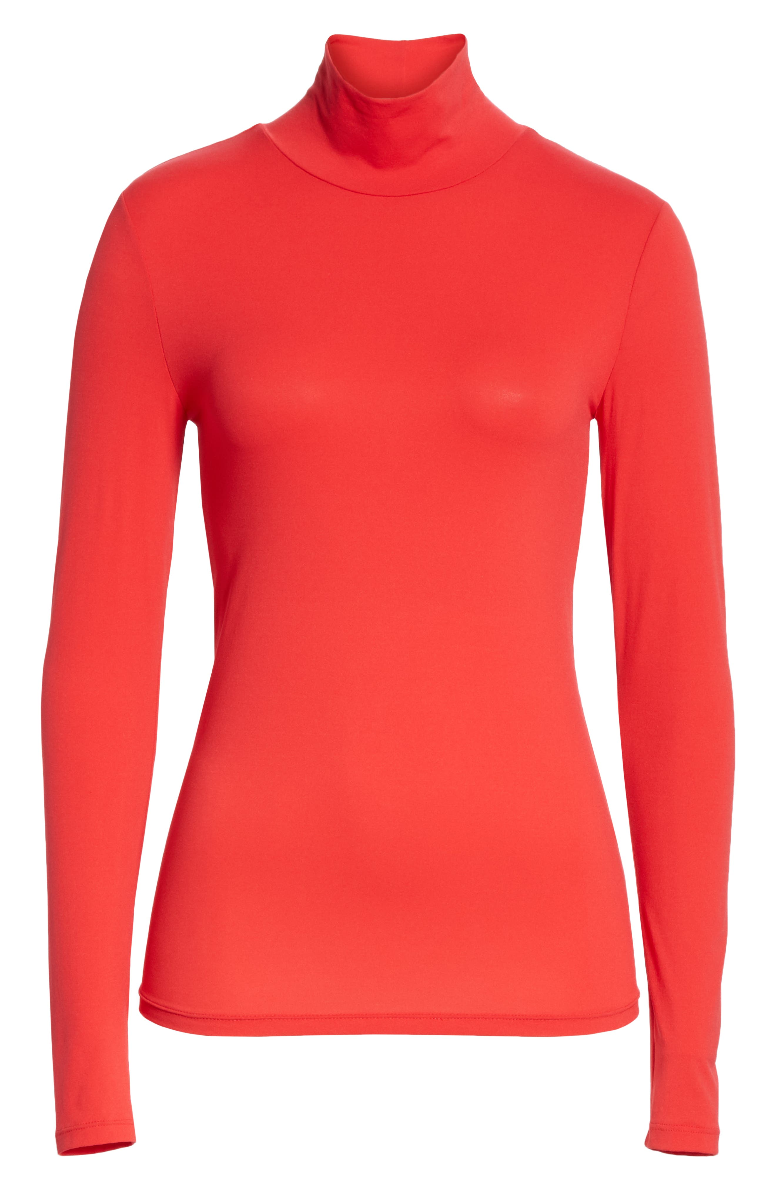 ST. JOHN COLLECTION,                             Nuda Fine Jersey Turtleneck Shell,                             Alternate thumbnail 6, color,                             CRIMSON