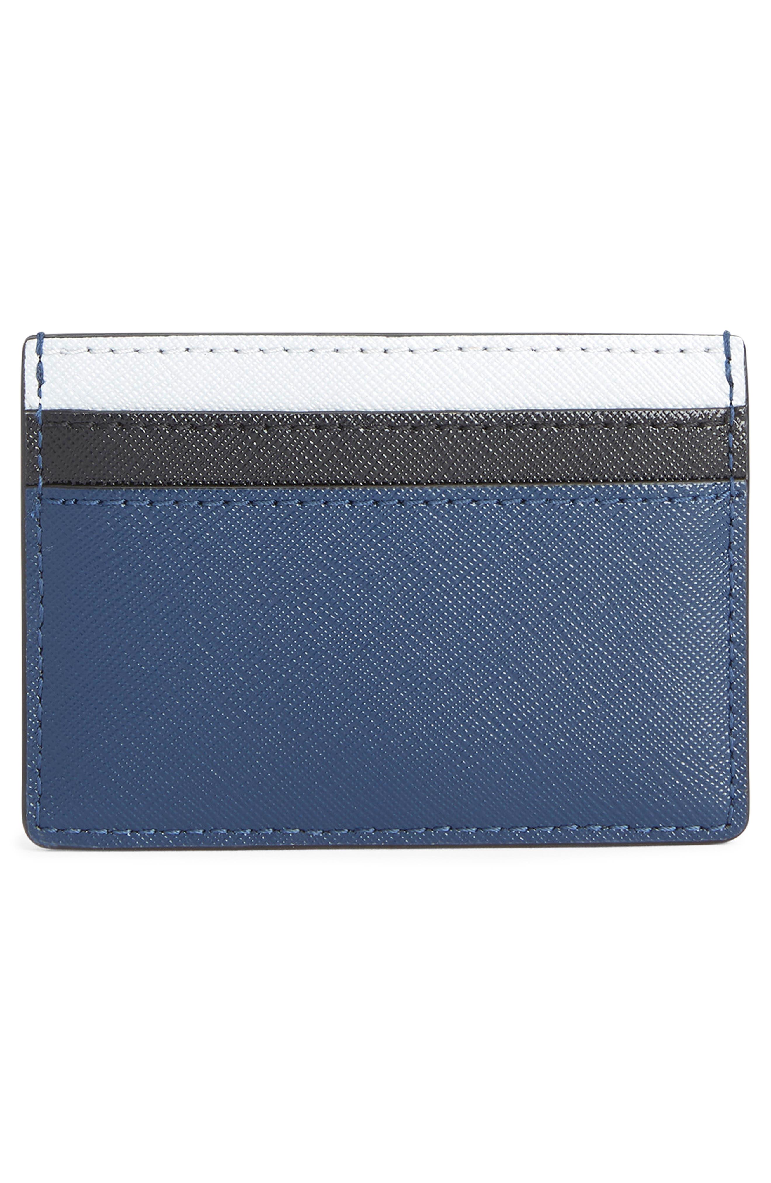 Snapshot Saffiano Leather Card Case,                             Alternate thumbnail 2, color,                             BLUE SEA MULTI