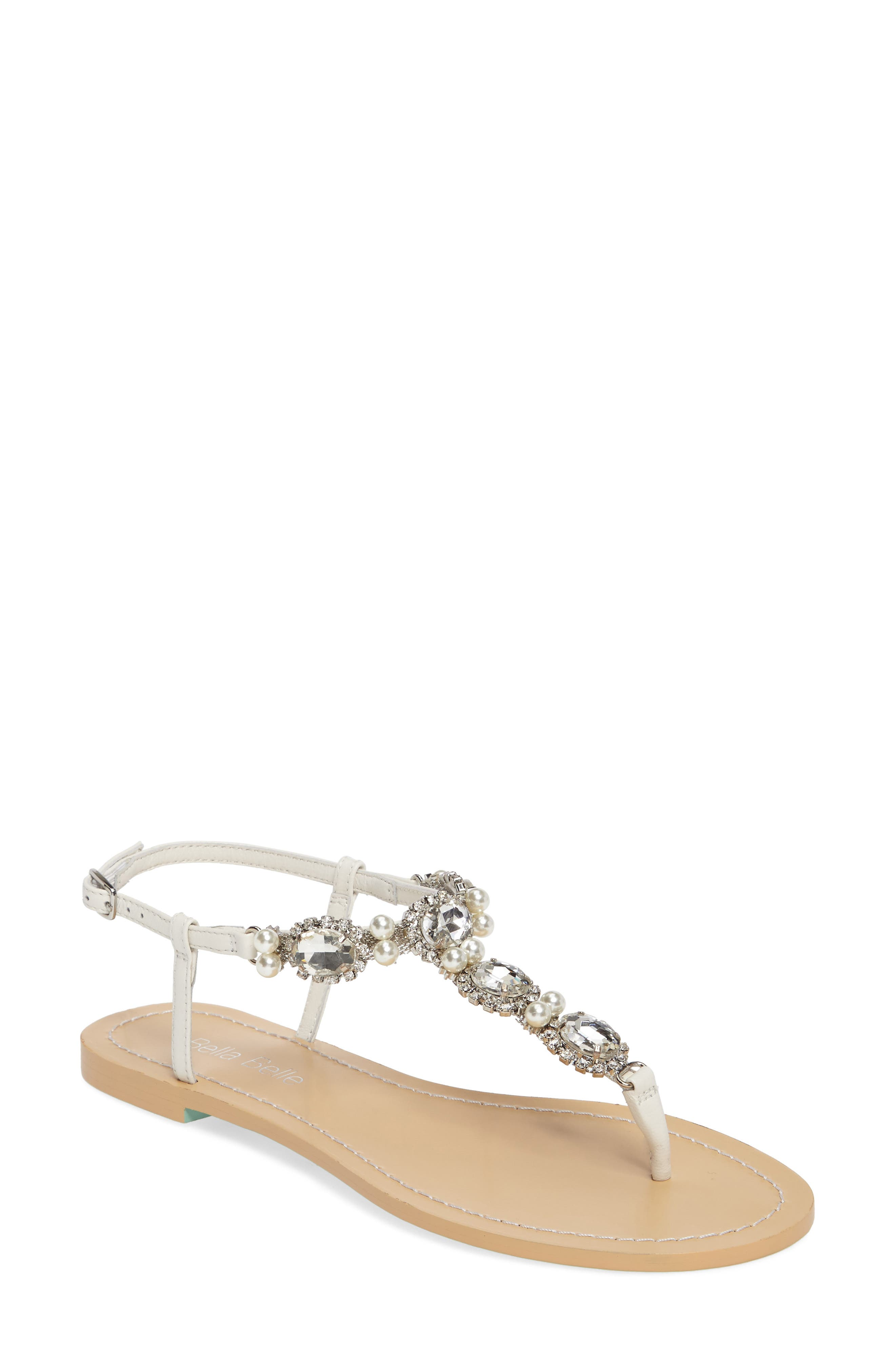 Hera Embellished T-Strap Sandal,                         Main,                         color, OFF WHITE LEATHER