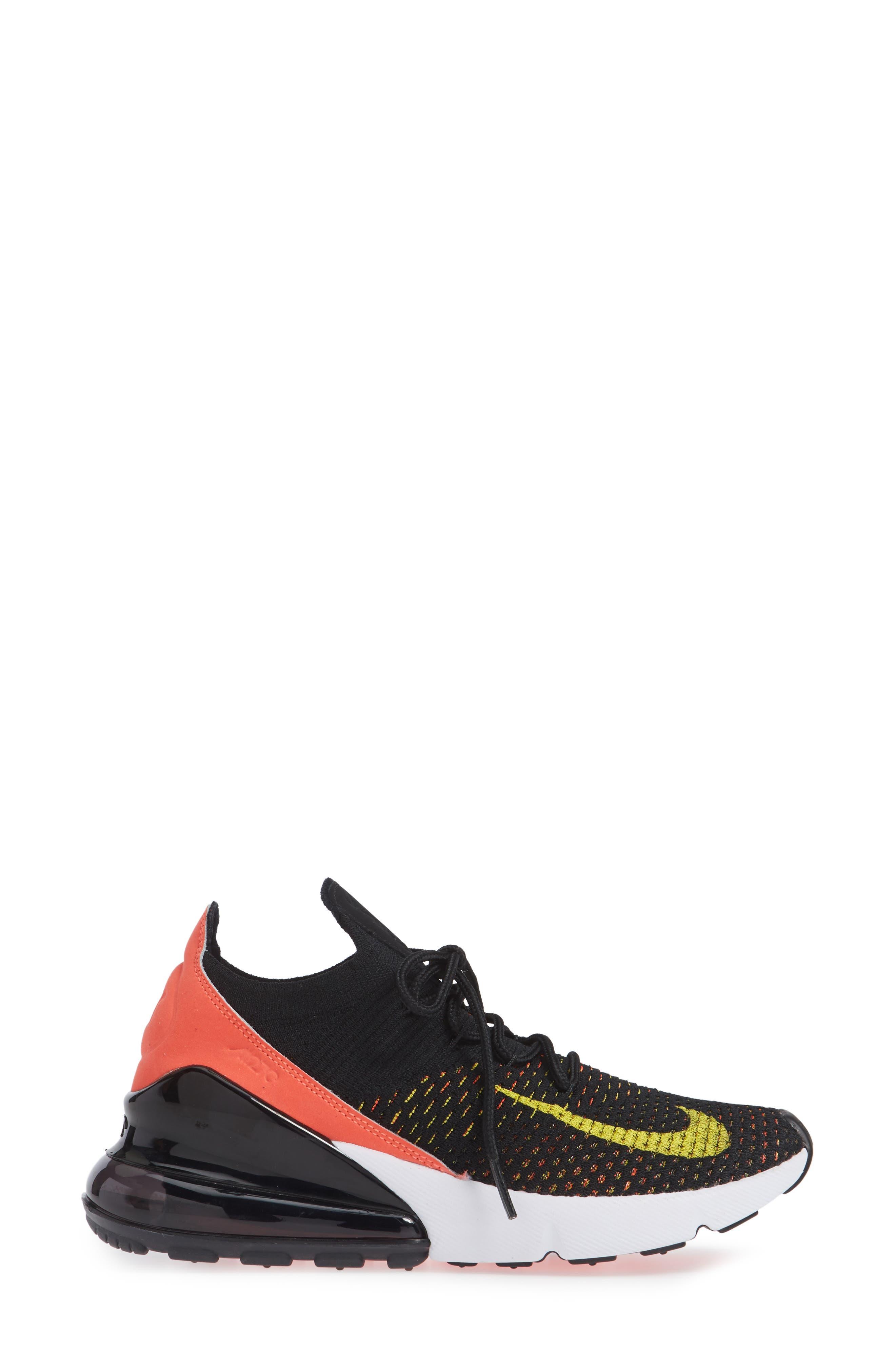 Air Max 270 Flyknit Sneaker,                             Alternate thumbnail 3, color,                             BLACK/ YELLOW STRIKE/ CRIMSON