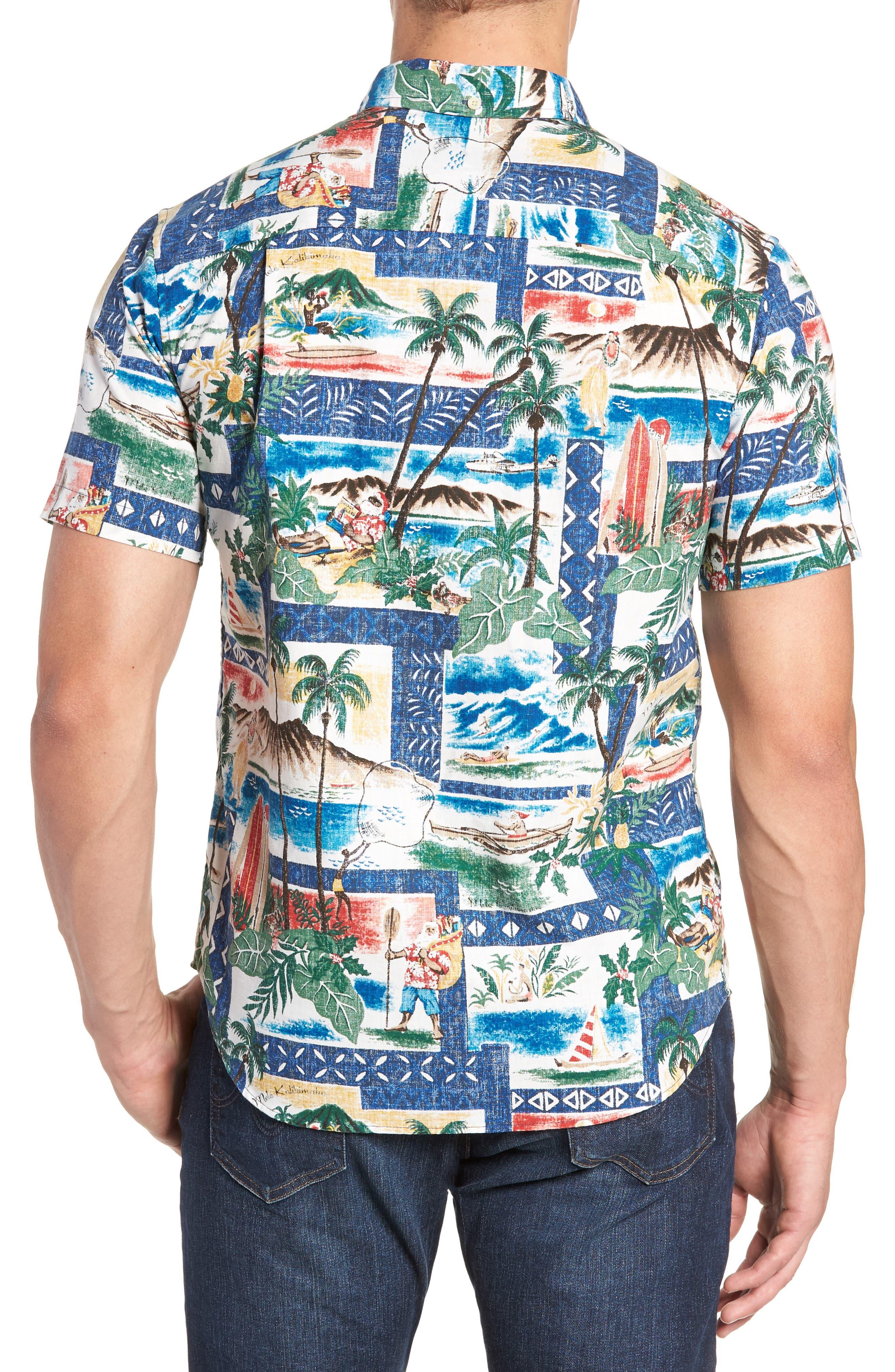 Hawaiian Christmas 2018 Tailored Fit Sport Shirt,                             Alternate thumbnail 3, color,                             ROYAL