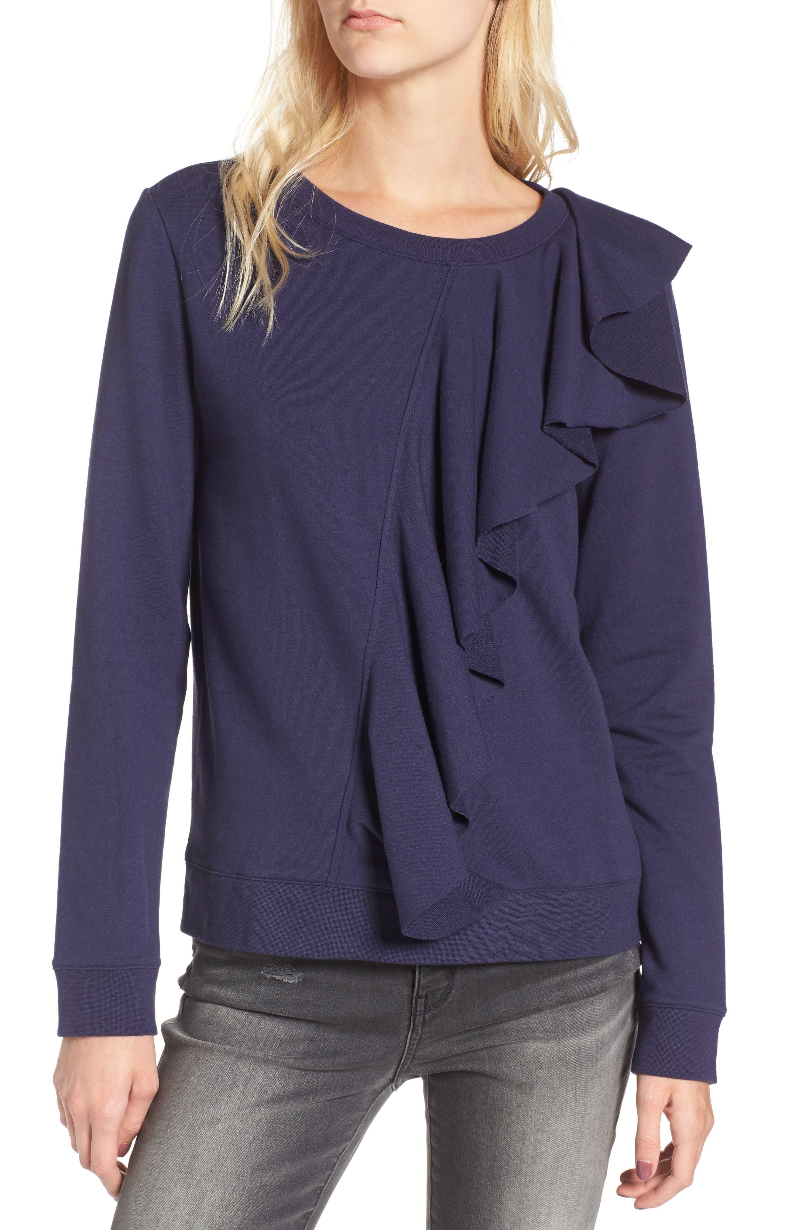 Asymmetrical Ruffle Sweatshirt,                             Main thumbnail 1, color,                             400