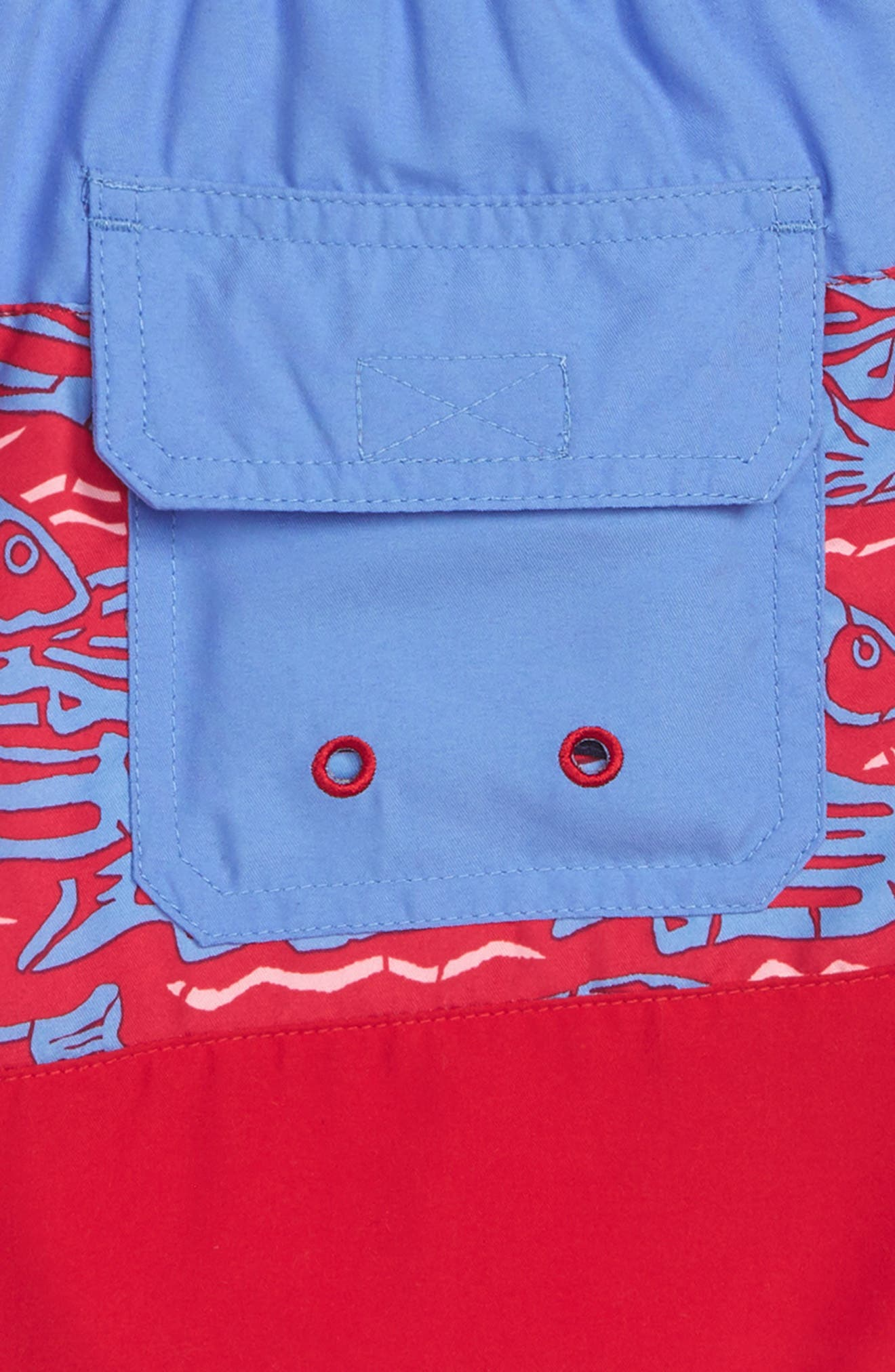 Pieced Fish at Sea Chappy Swim Trunks,                             Alternate thumbnail 3, color,                             634