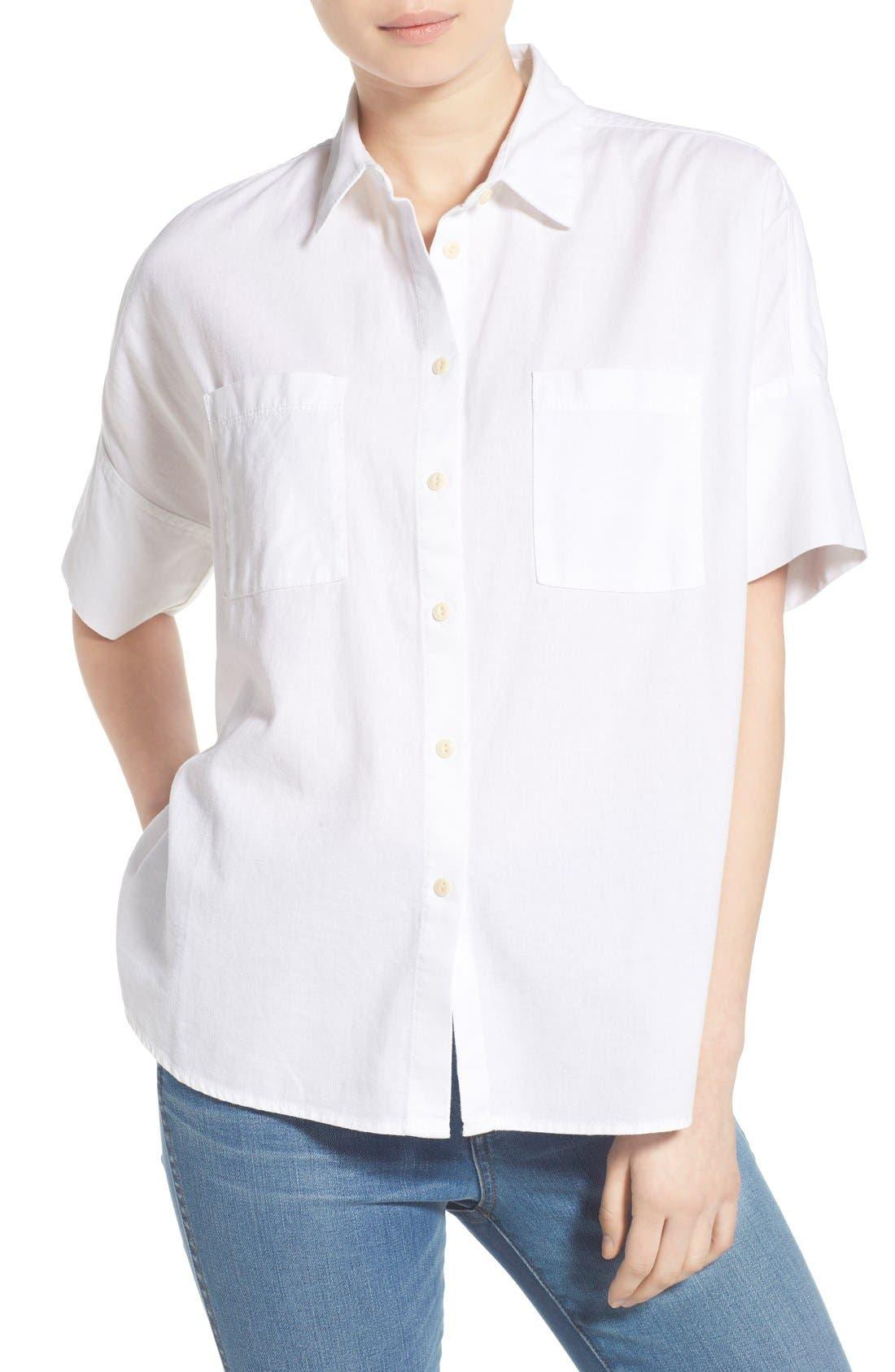 Cotton Courier Shirt,                             Alternate thumbnail 8, color,                             PURE WHITE