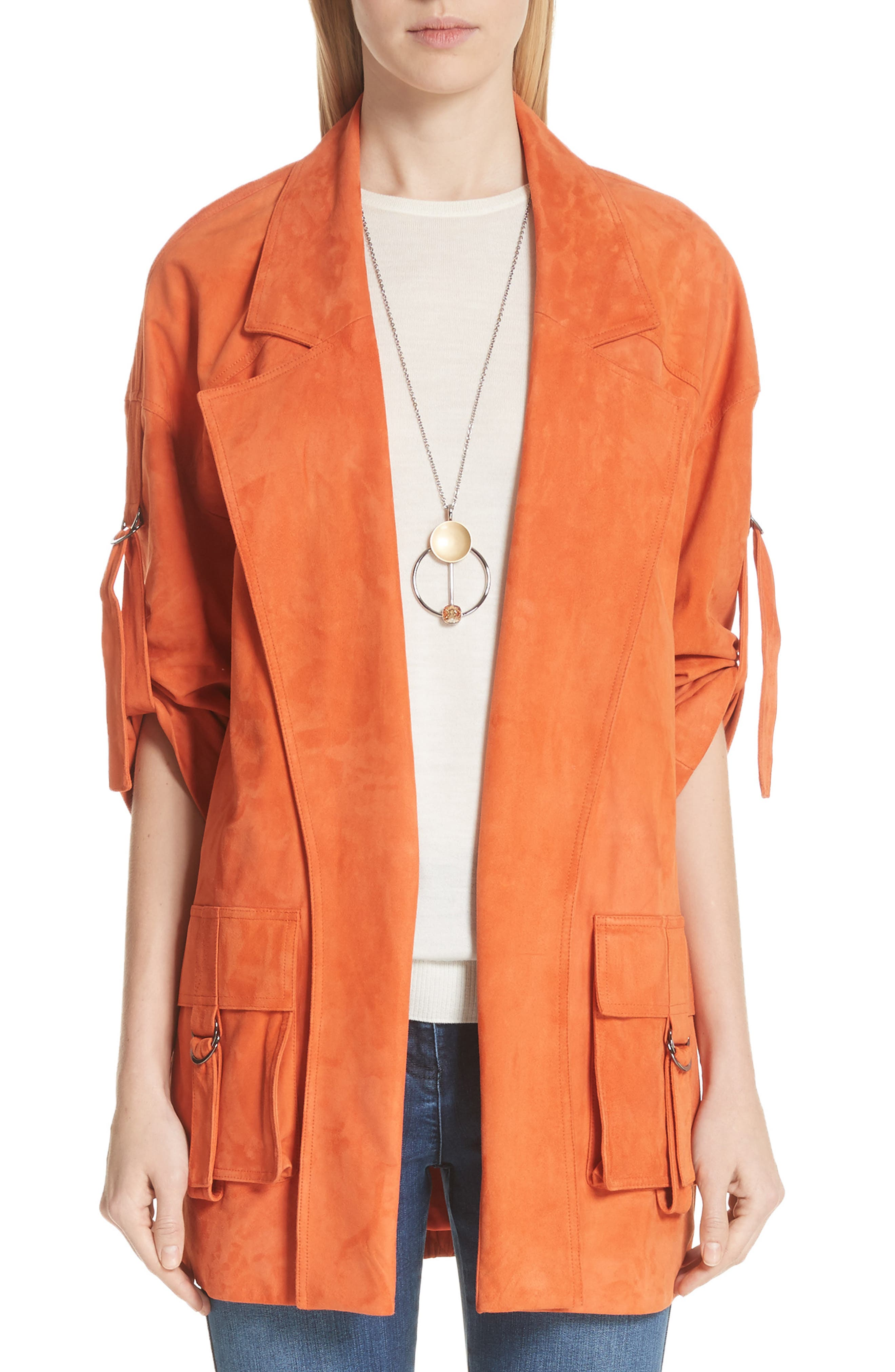 Suede Slouch Jacket,                             Main thumbnail 1, color,                             SOFT SIENNA