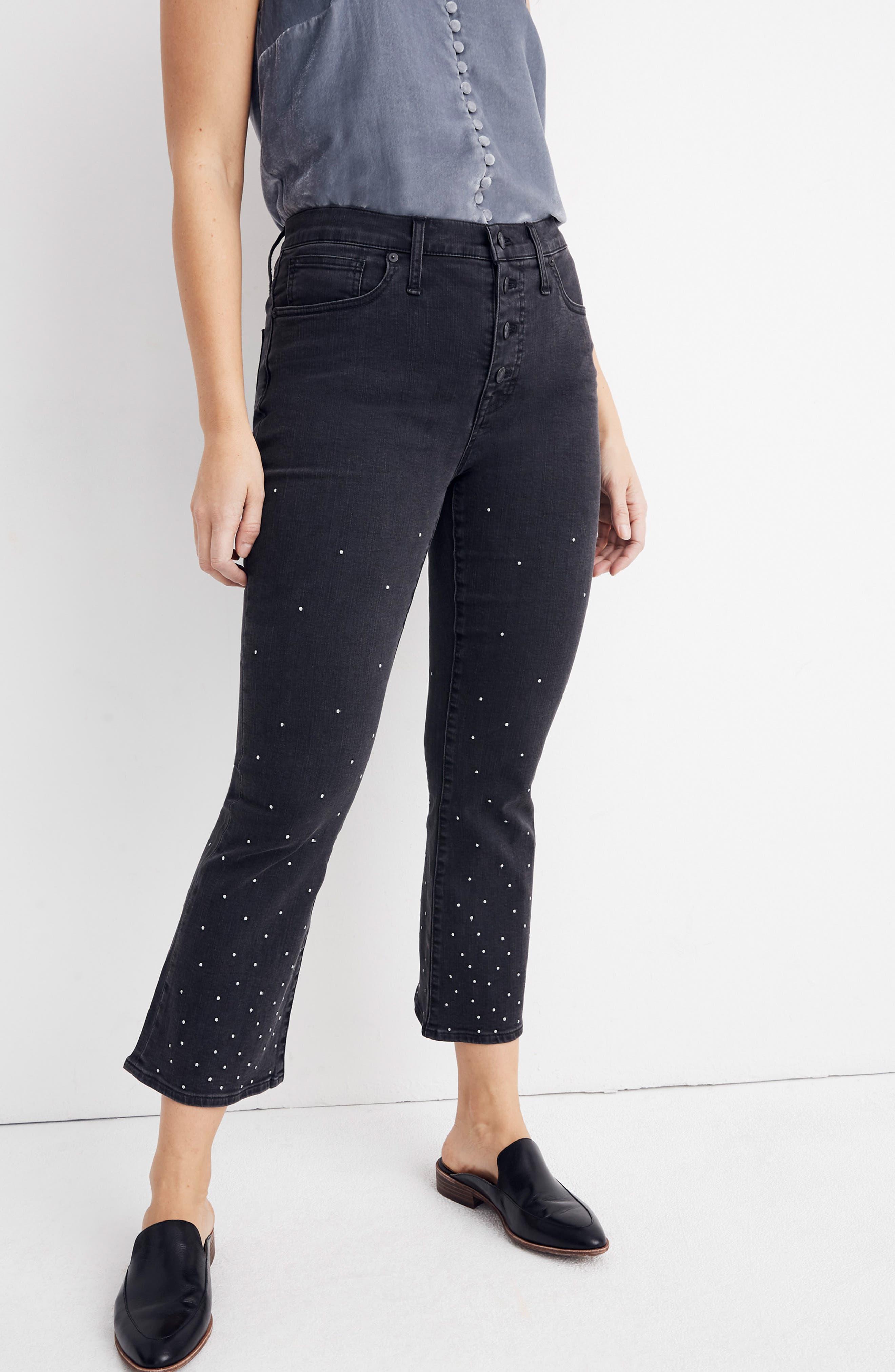 Cali Demi Boot Jeans,                             Alternate thumbnail 10, color,                             SILVER DOTS