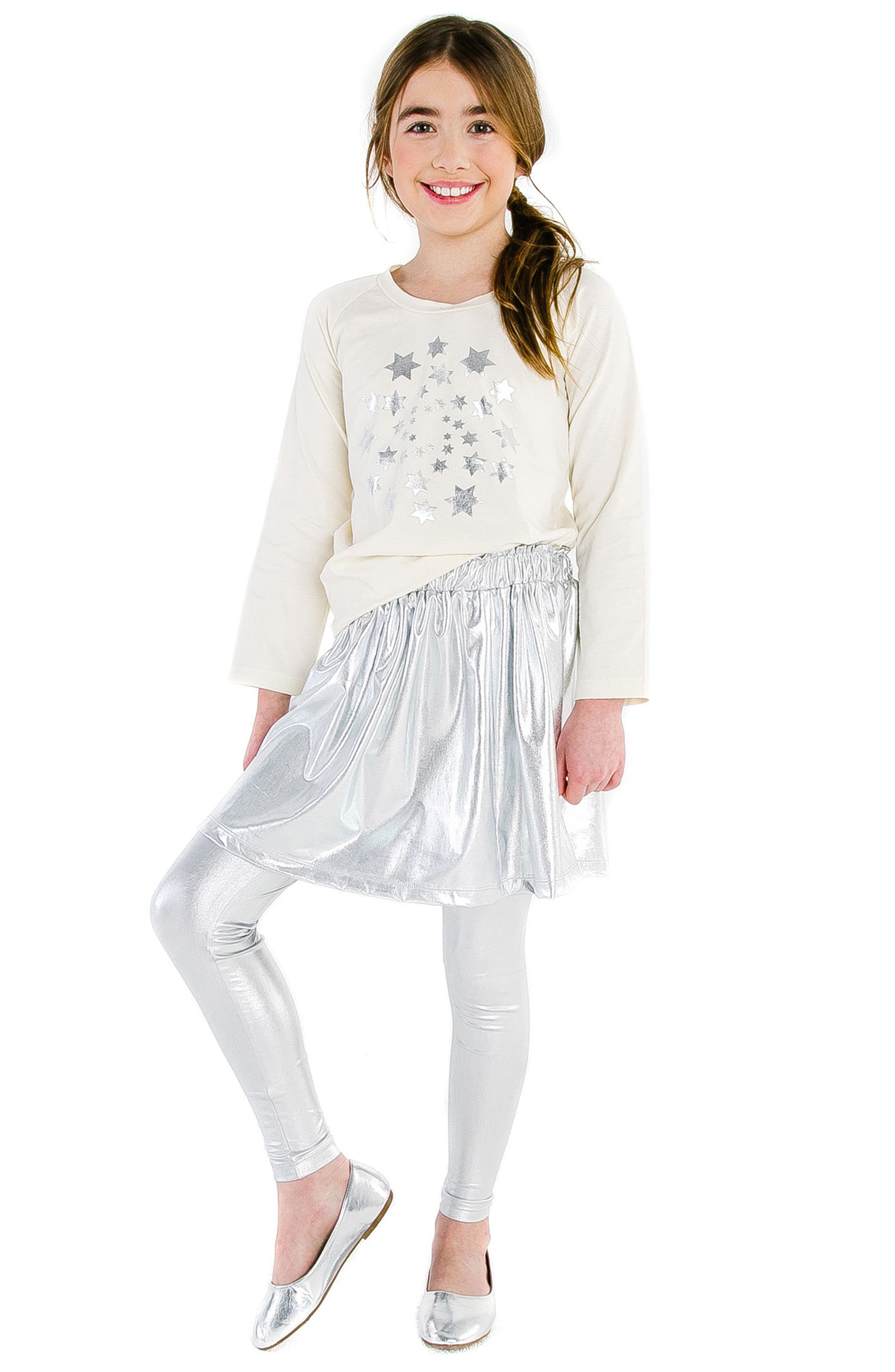 Silver Metallic Skirt,                             Alternate thumbnail 2, color,                             SILVER