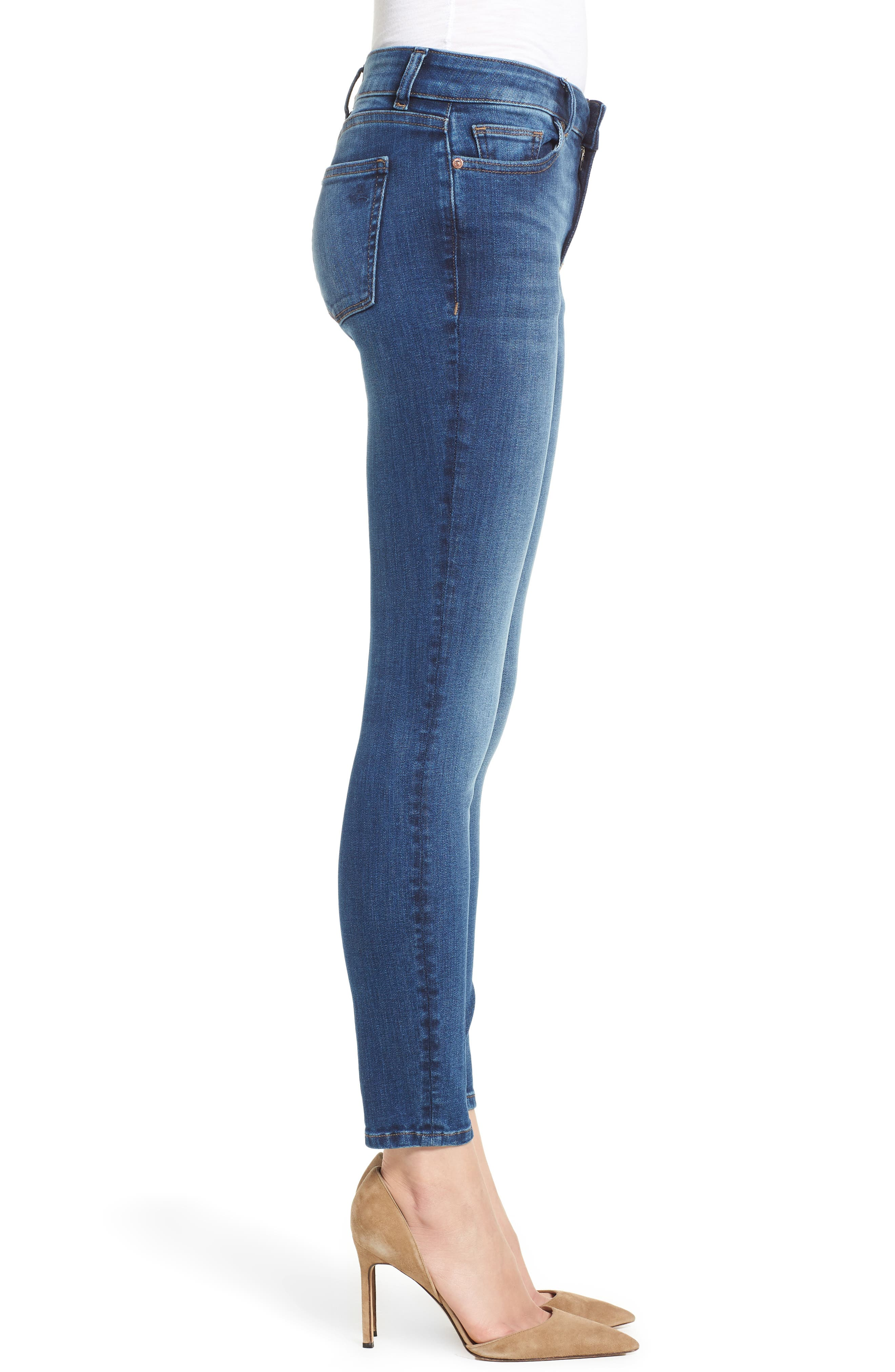 DL1961,                             Florence Midrise Instasculpt Ankle Skinny Jeans,                             Alternate thumbnail 3, color,                             SABINE