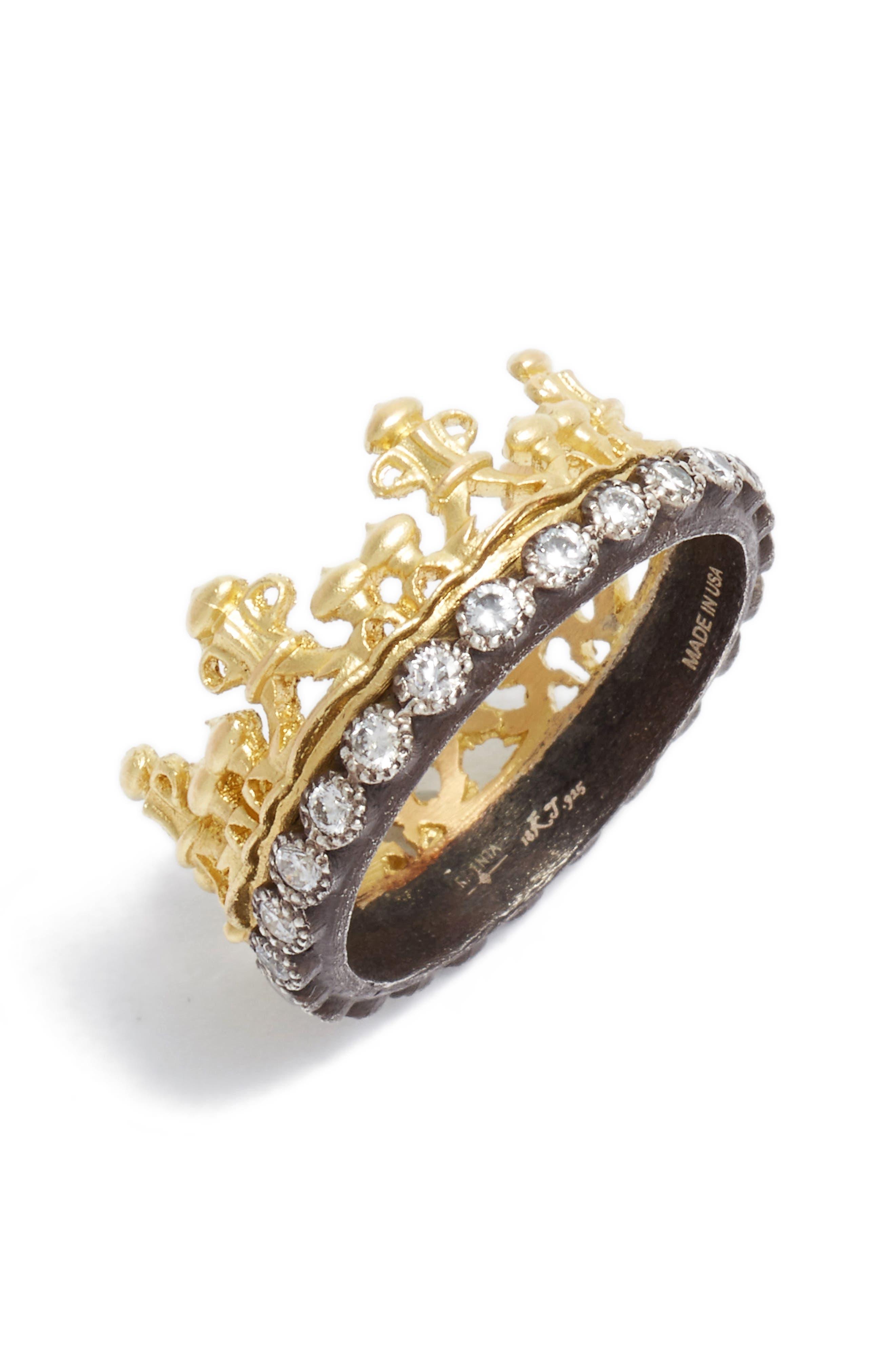 Old World Diamond Crown Ring,                             Main thumbnail 1, color,                             GOLD