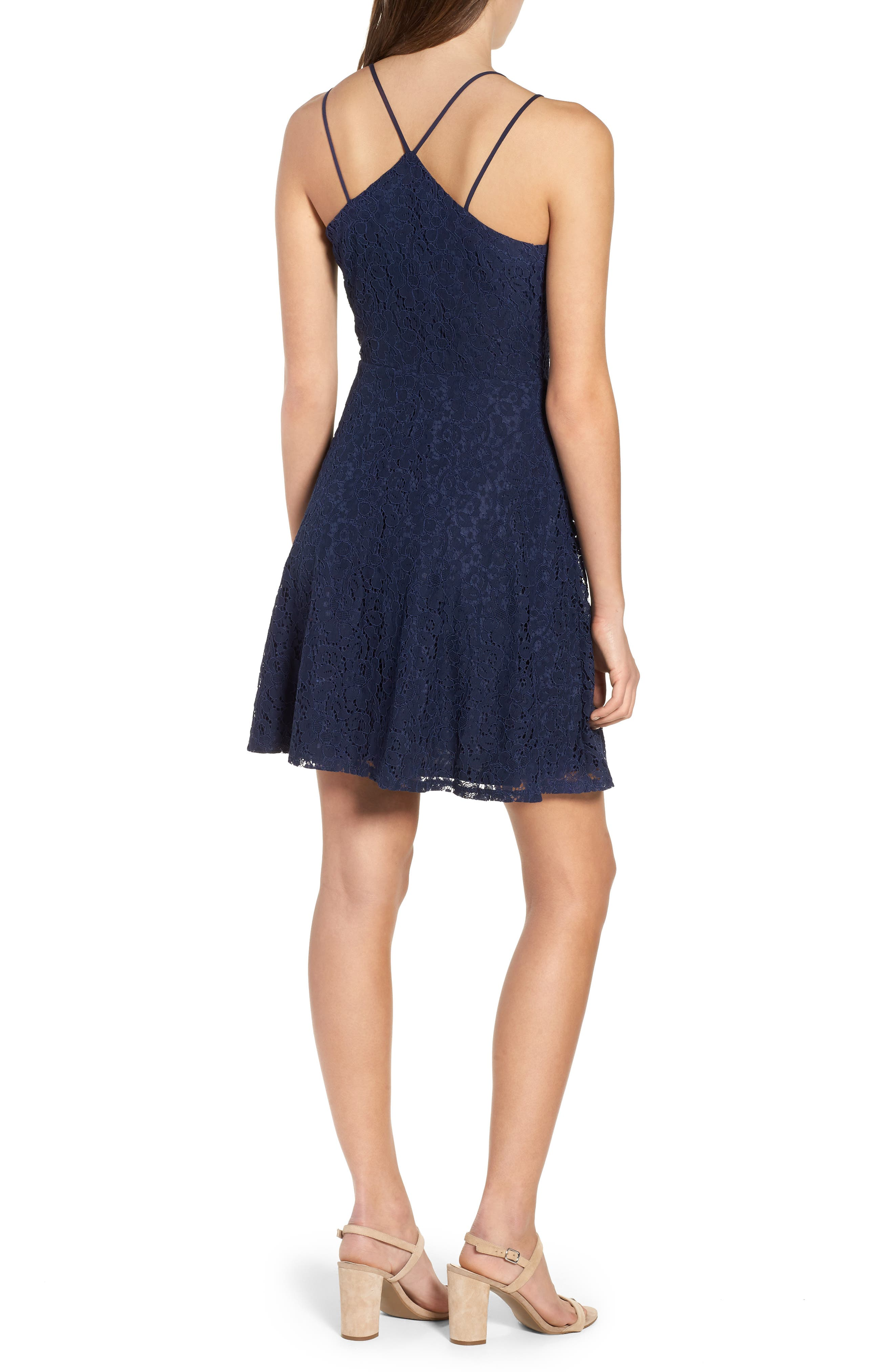 Strappy Lace Fit & Flare Dress,                             Alternate thumbnail 2, color,                             400