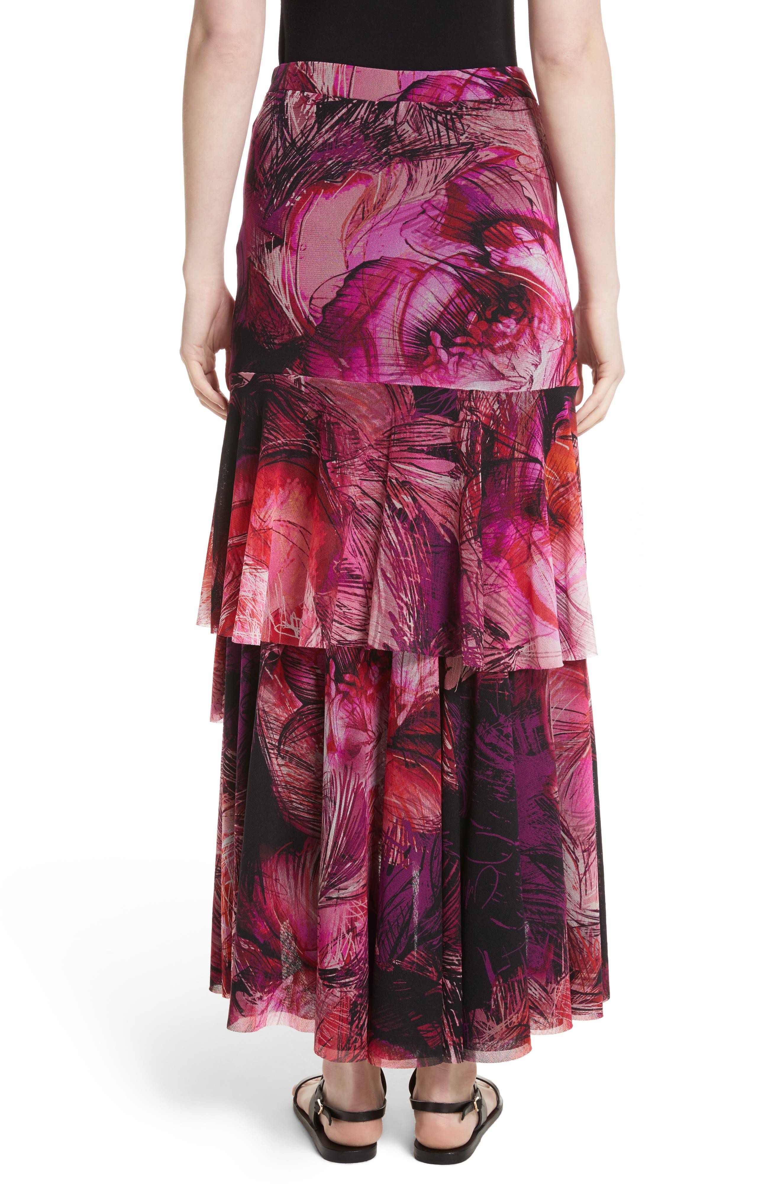 Print Tulle Ruffle Skirt,                             Alternate thumbnail 2, color,                             650