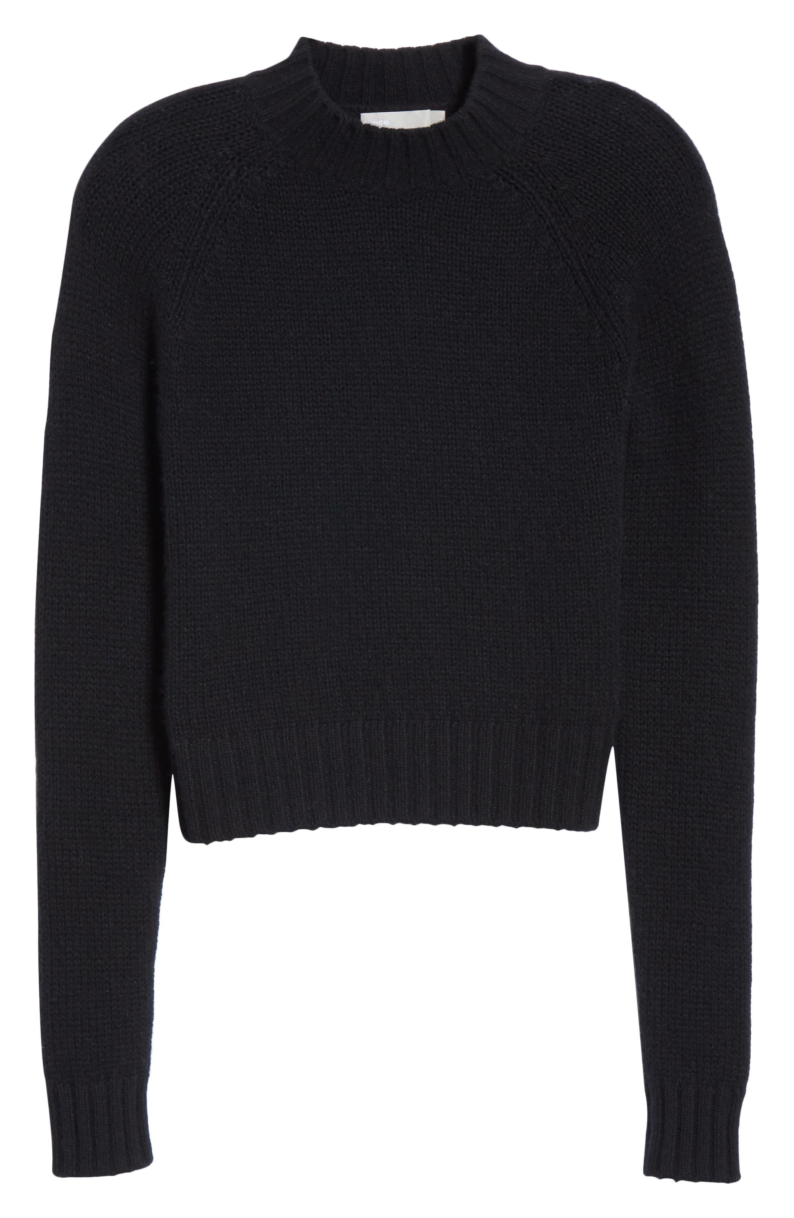 Shrunken Cashmere Sweater,                             Alternate thumbnail 6, color,                             BLACK