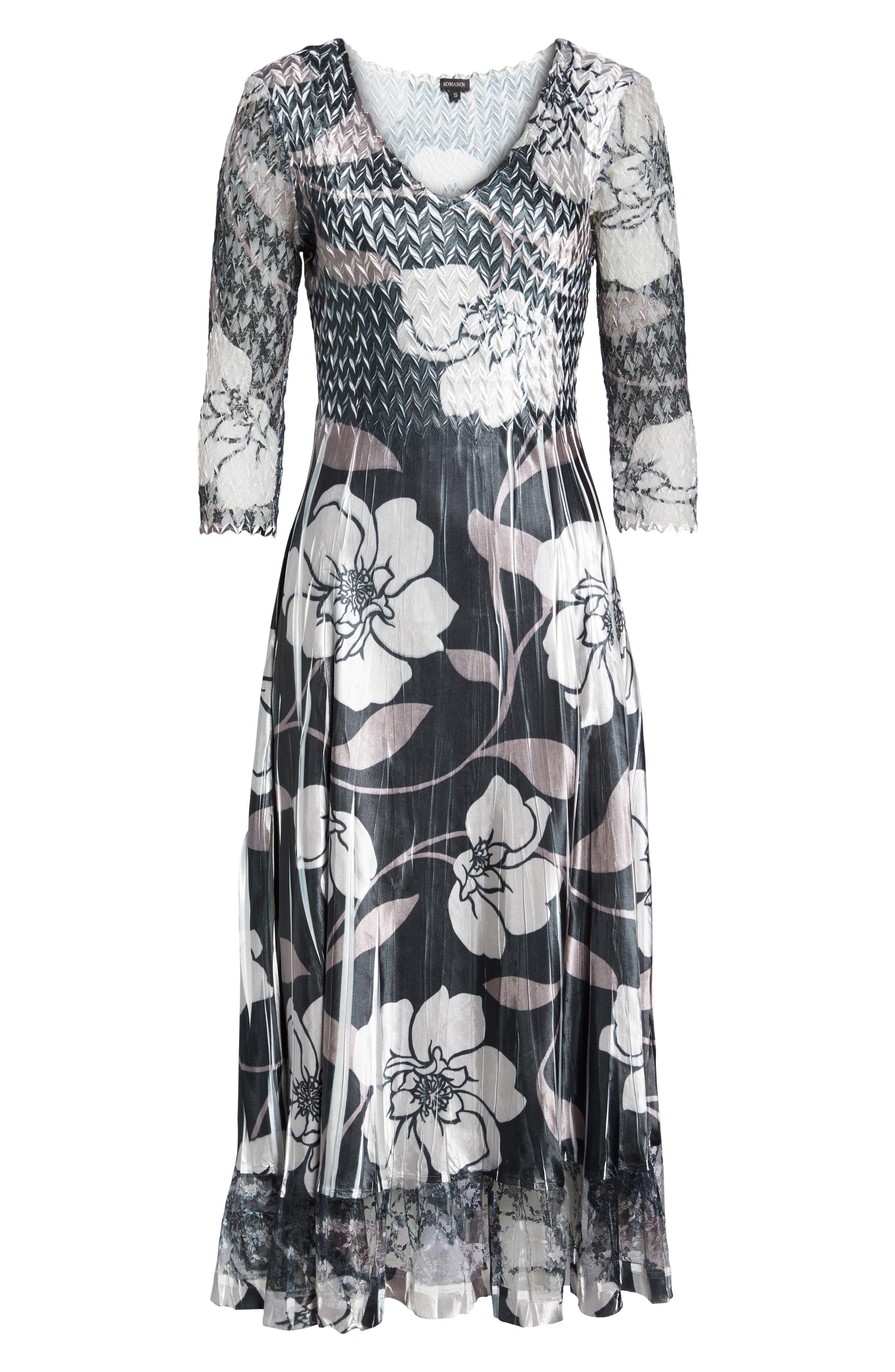 Floral A-Line Dress,                             Alternate thumbnail 6, color,                             016