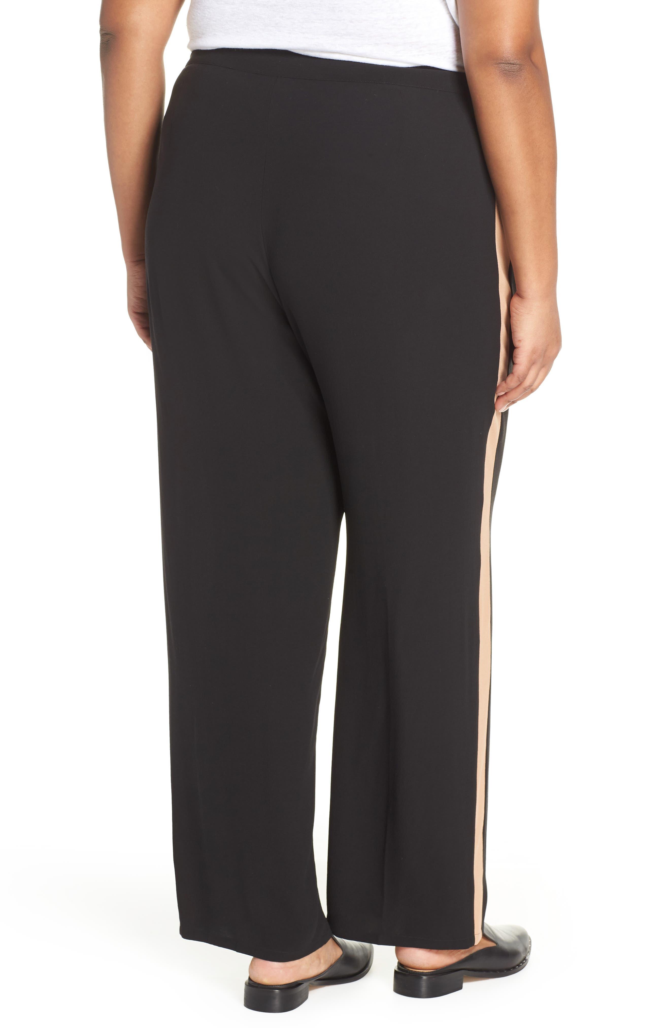 High Rise Side Stripe Silk Pants,                             Alternate thumbnail 2, color,                             BLACK