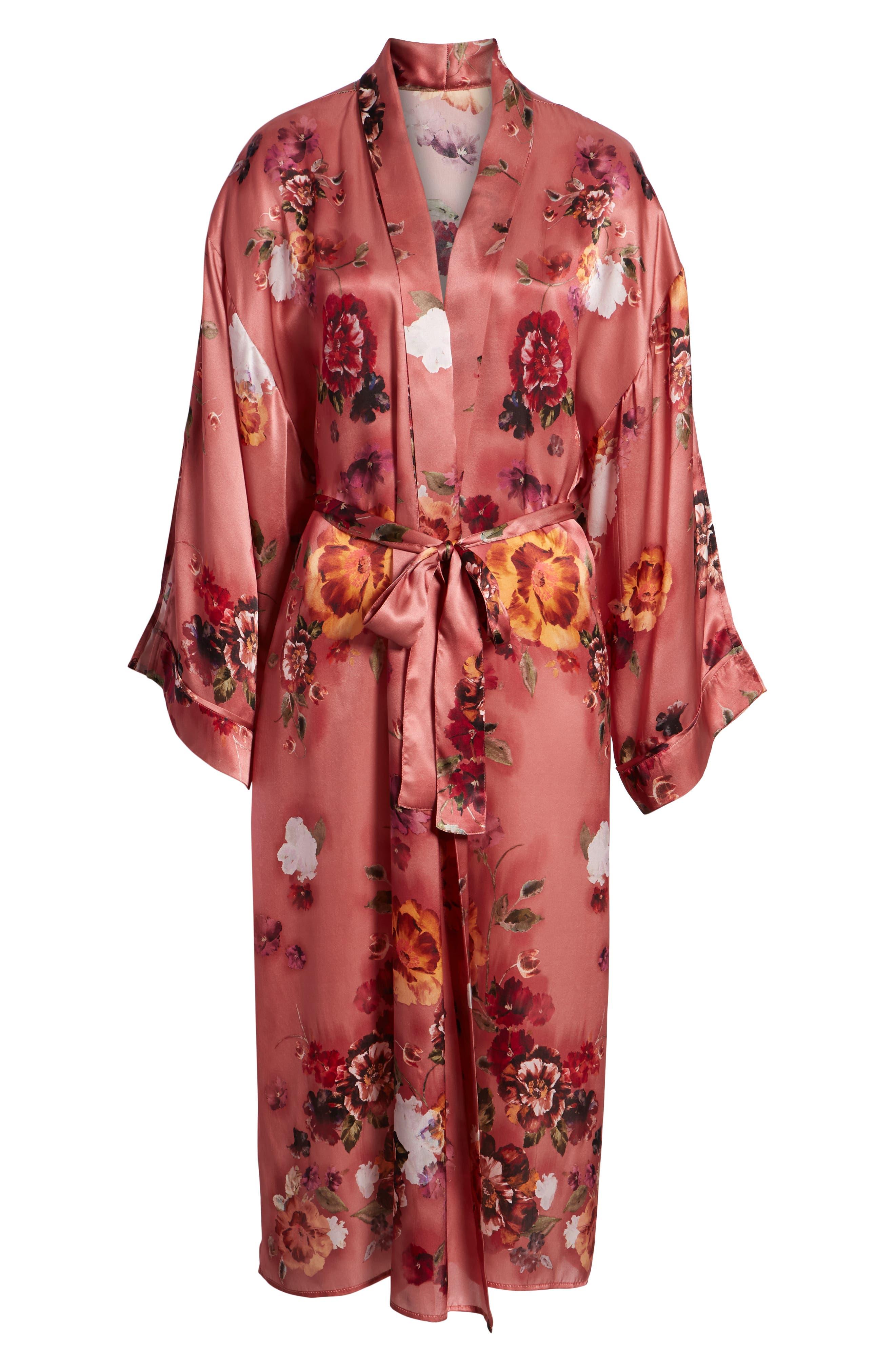 Print Long Silk Kimono,                             Alternate thumbnail 6, color,                             PINK AUTUMN BOUQUET