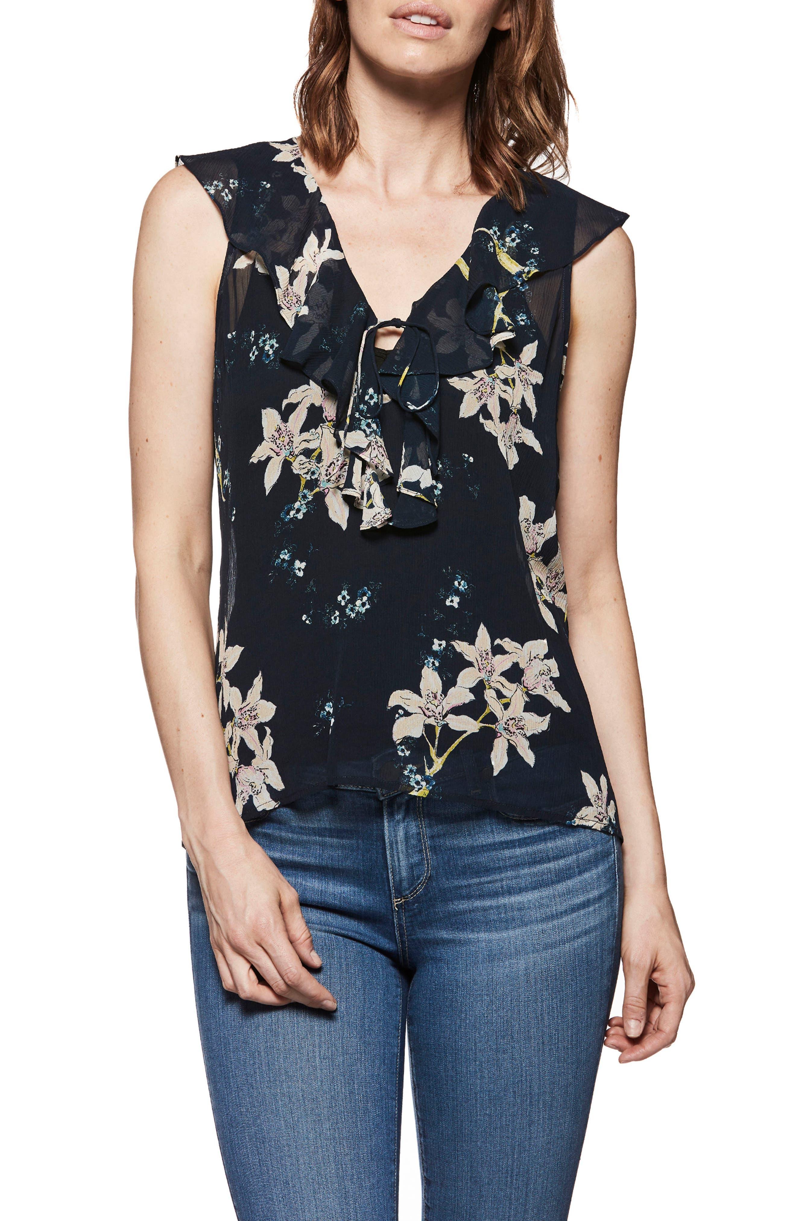Danae Floral Ruffle Top,                         Main,                         color, RICH NAVY MULTI