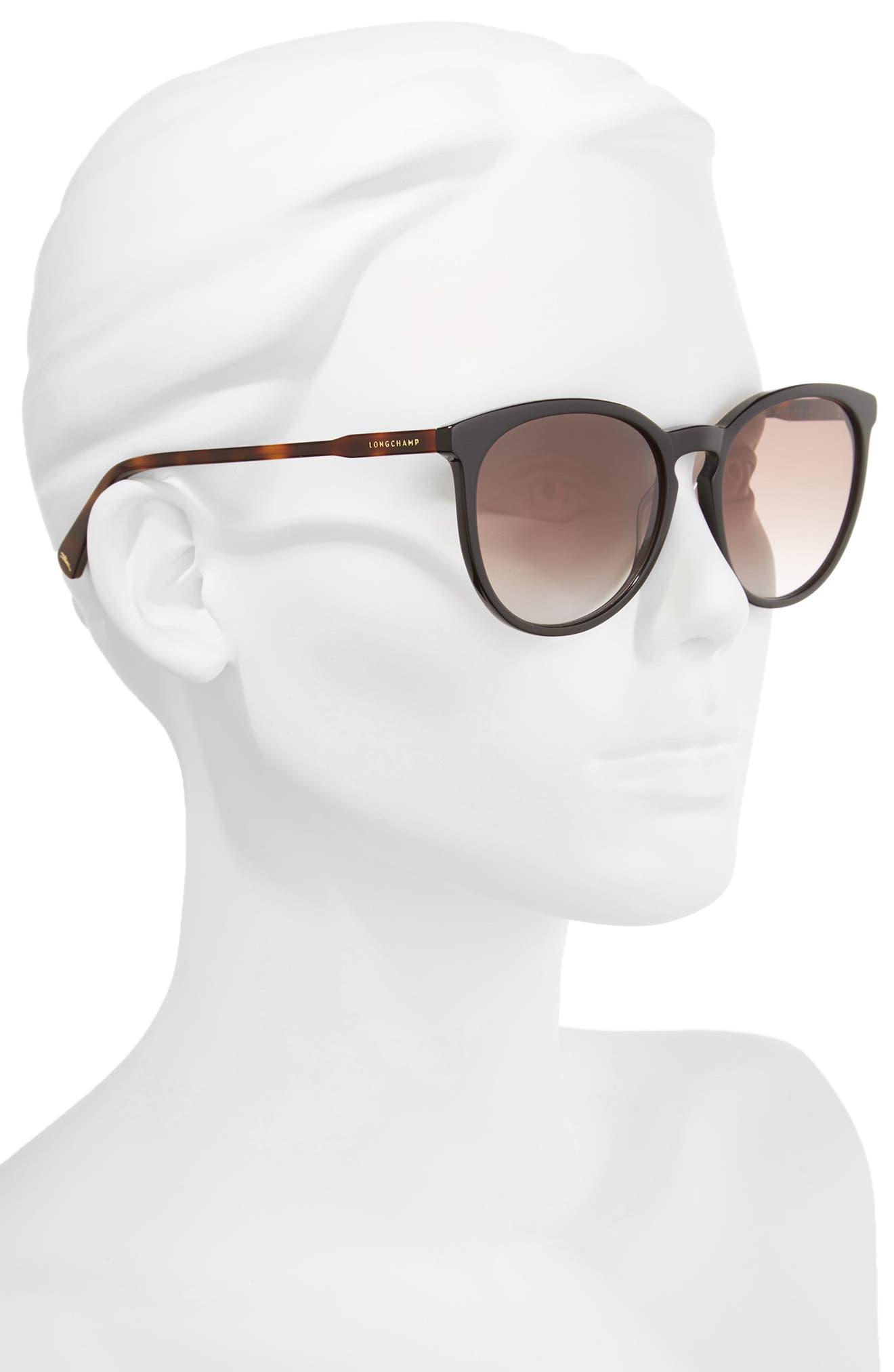56mm Round Sunglasses,                             Alternate thumbnail 2, color,                             BLACK/ HAVANA