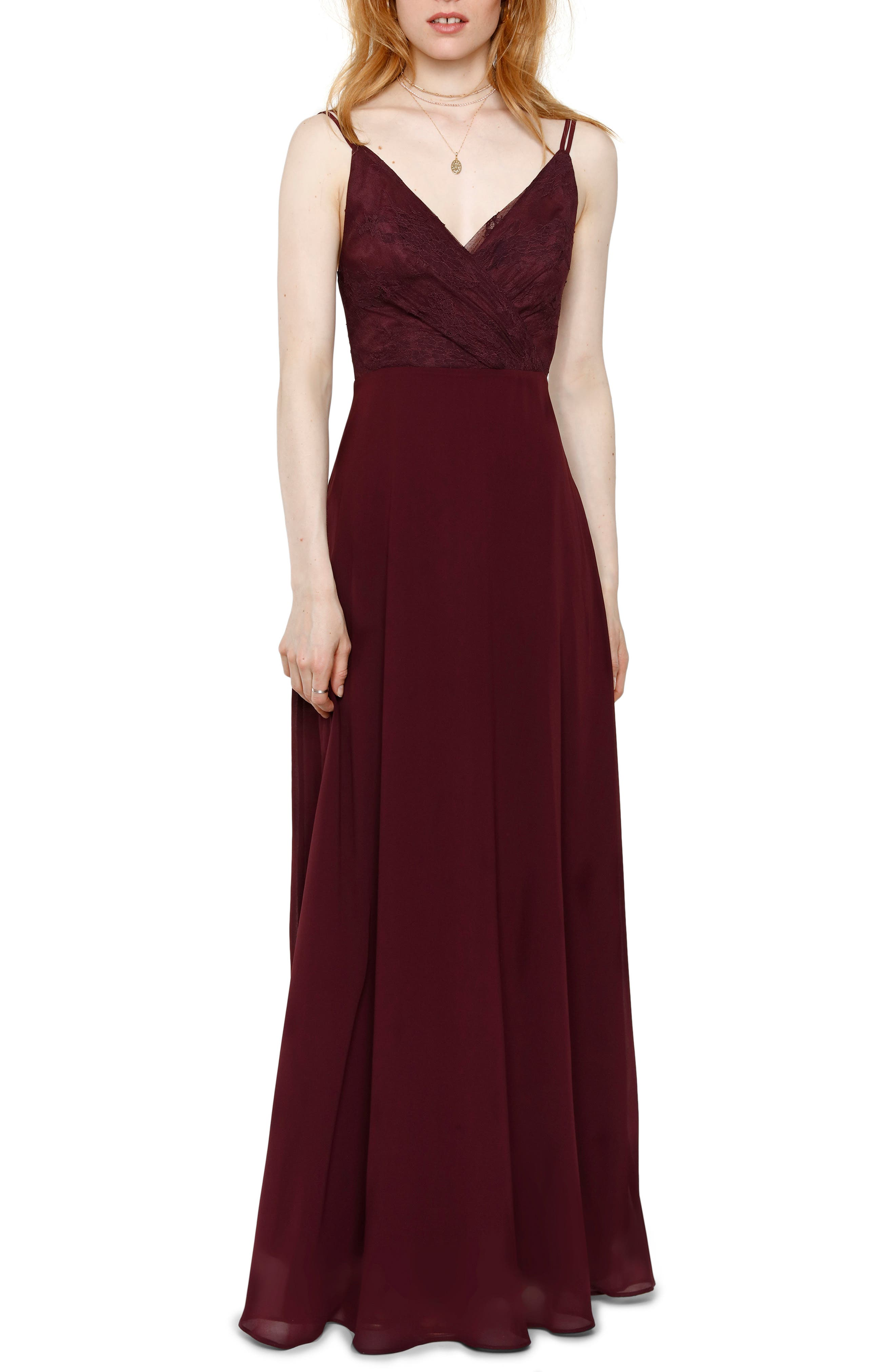 Haley Lace & Chiffon Gown, Main, color, AUBERGINE