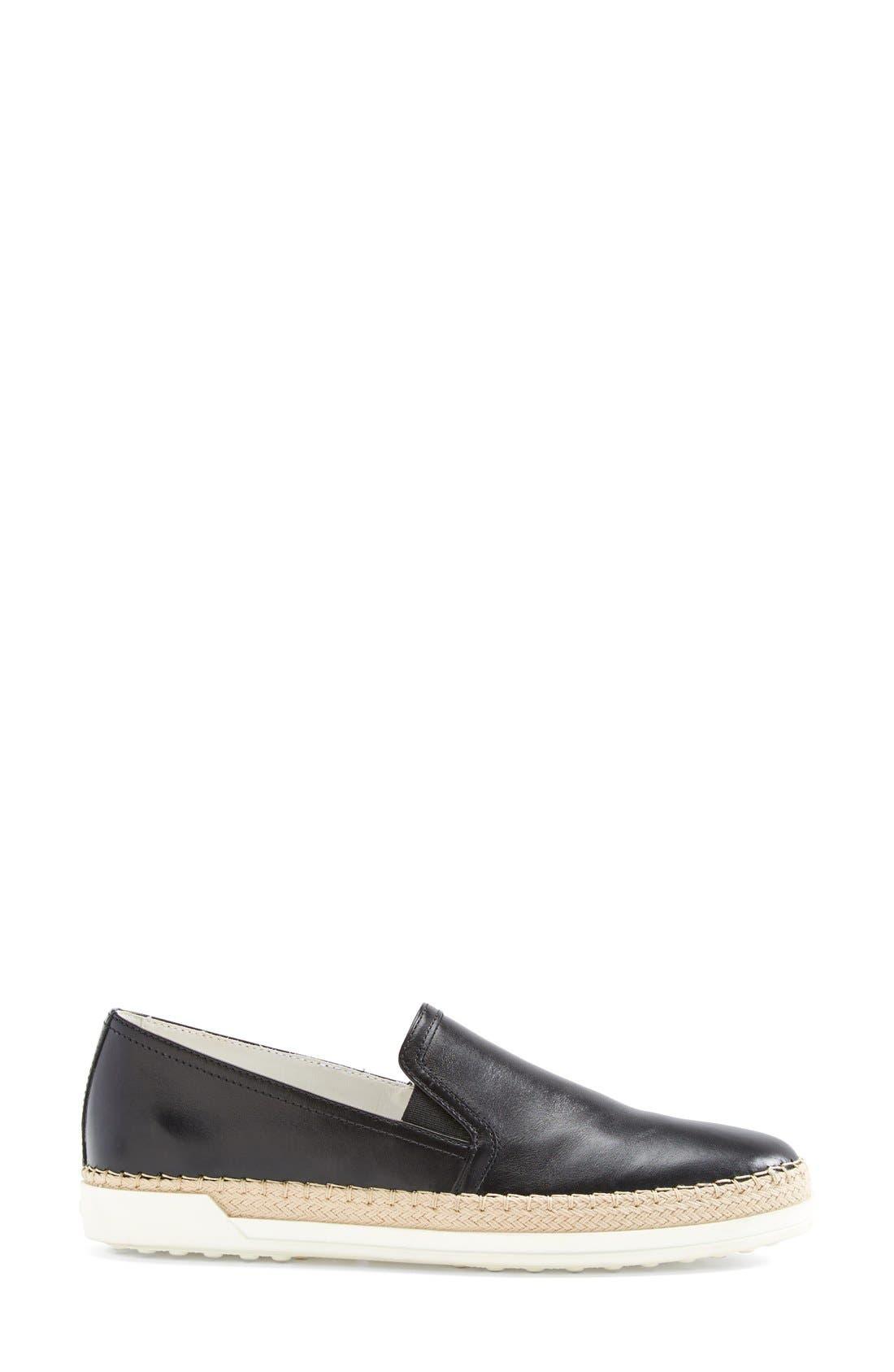 TOD'S,                             Slip-On Leather Sneaker,                             Alternate thumbnail 3, color,                             001