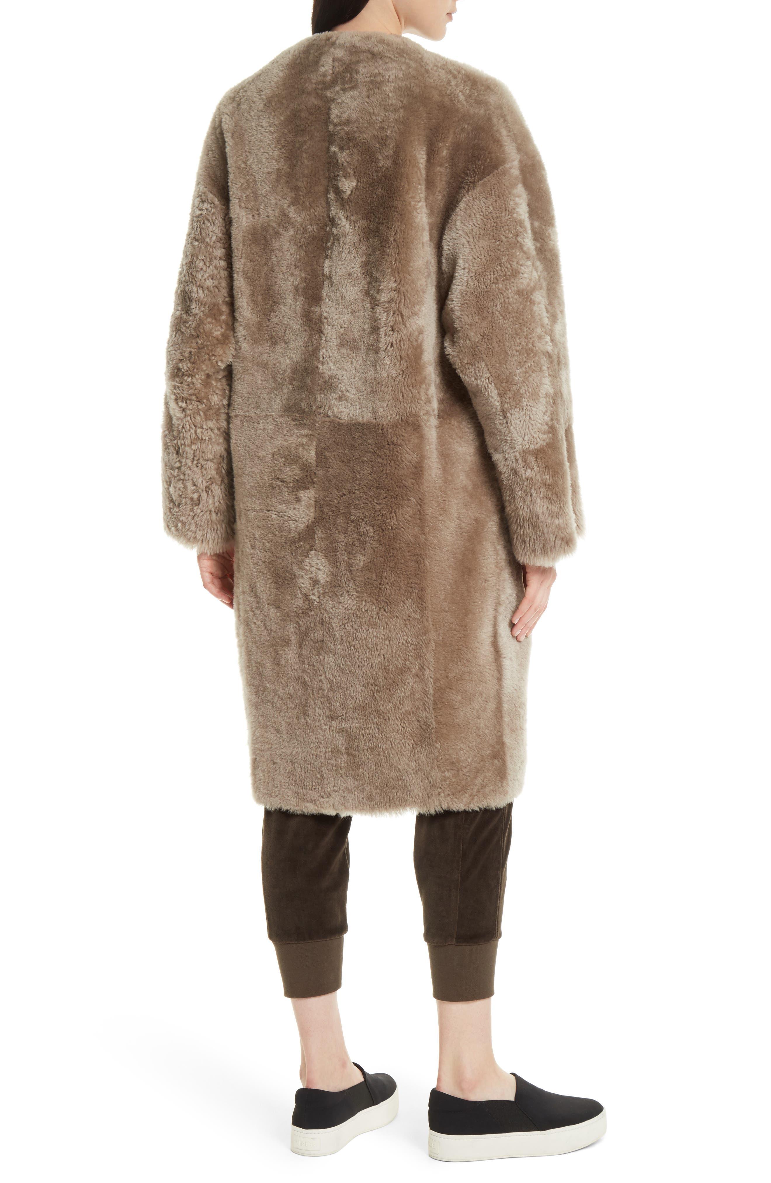 Genuine Shearling Reversible Coat,                             Alternate thumbnail 3, color,                             208