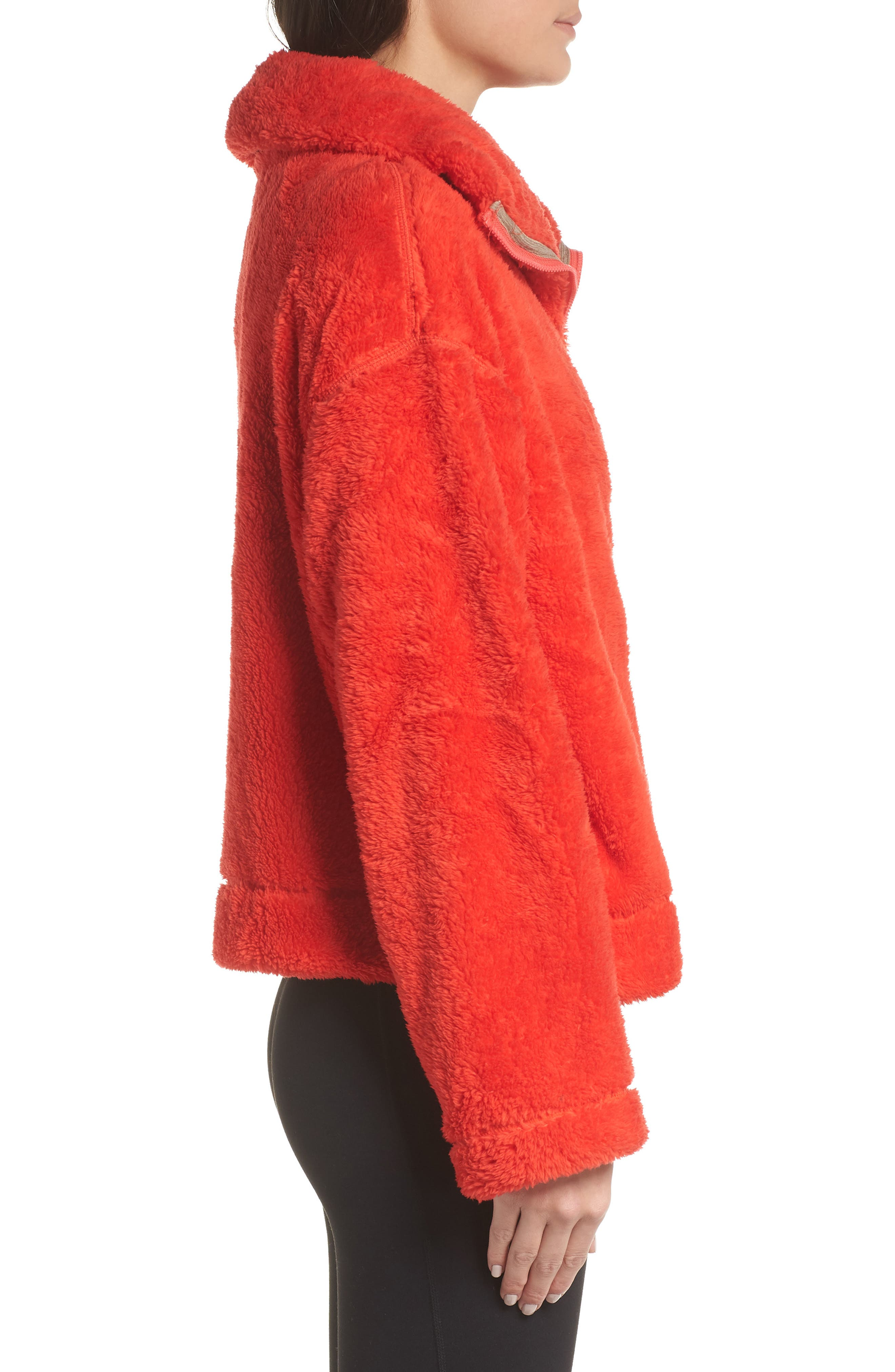 Dazed Fleece Jacket,                             Alternate thumbnail 3, color,                             RED