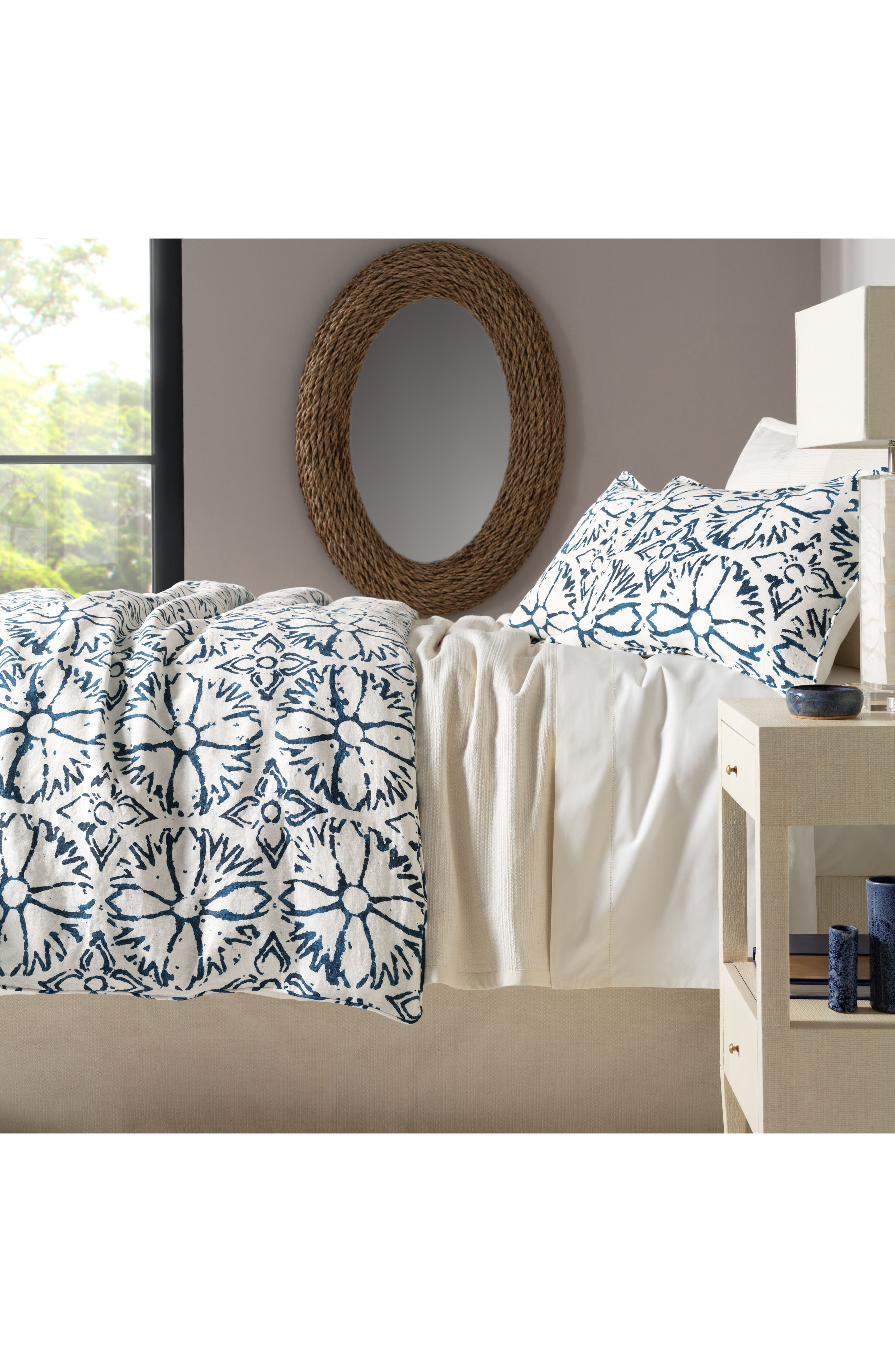 Aylin Linen Duvet Cover,                         Main,                         color, BLUE