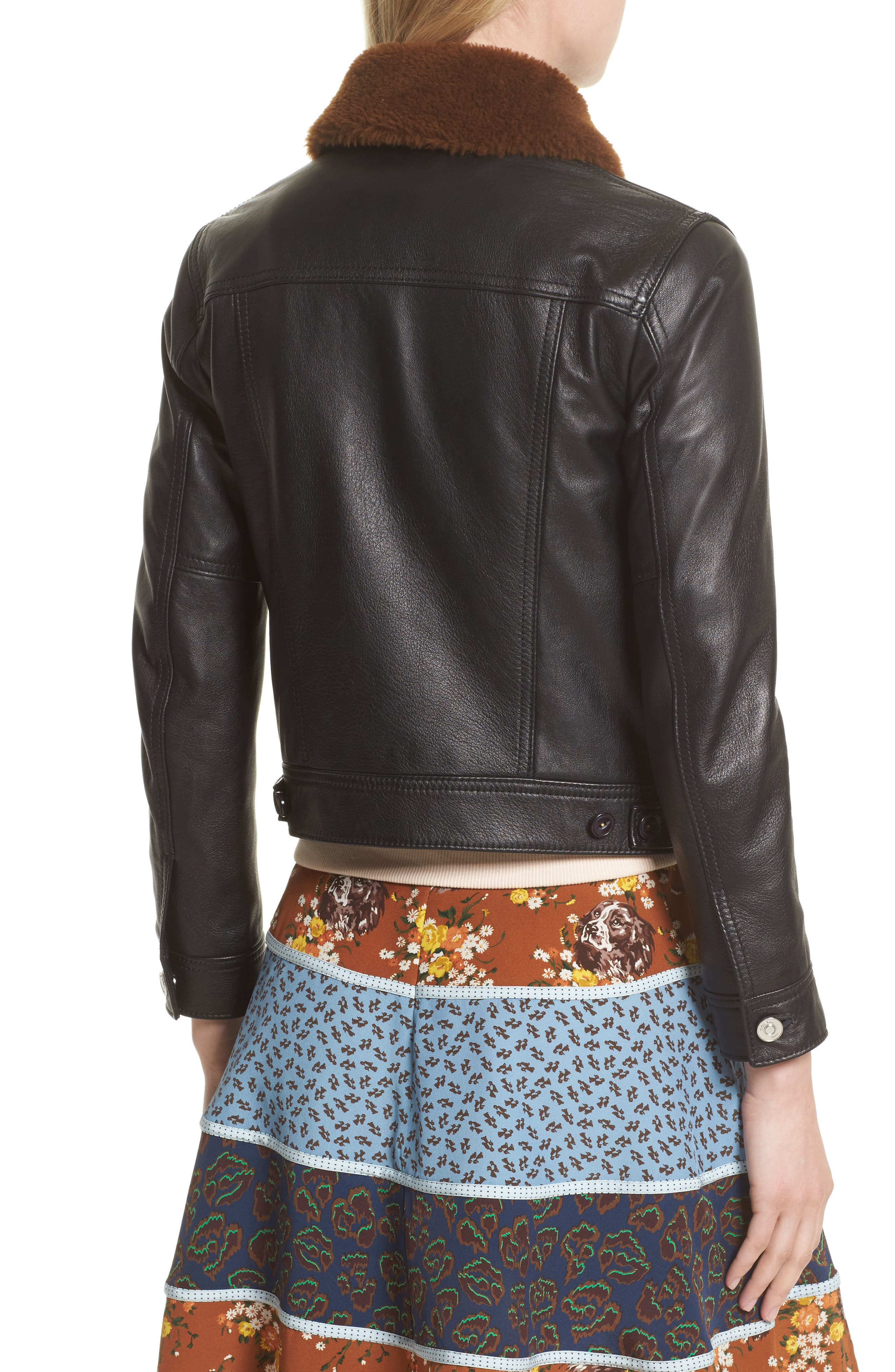 Leather Trucker Jacket with Removable Genuine Shearling Collar,                             Alternate thumbnail 3, color,